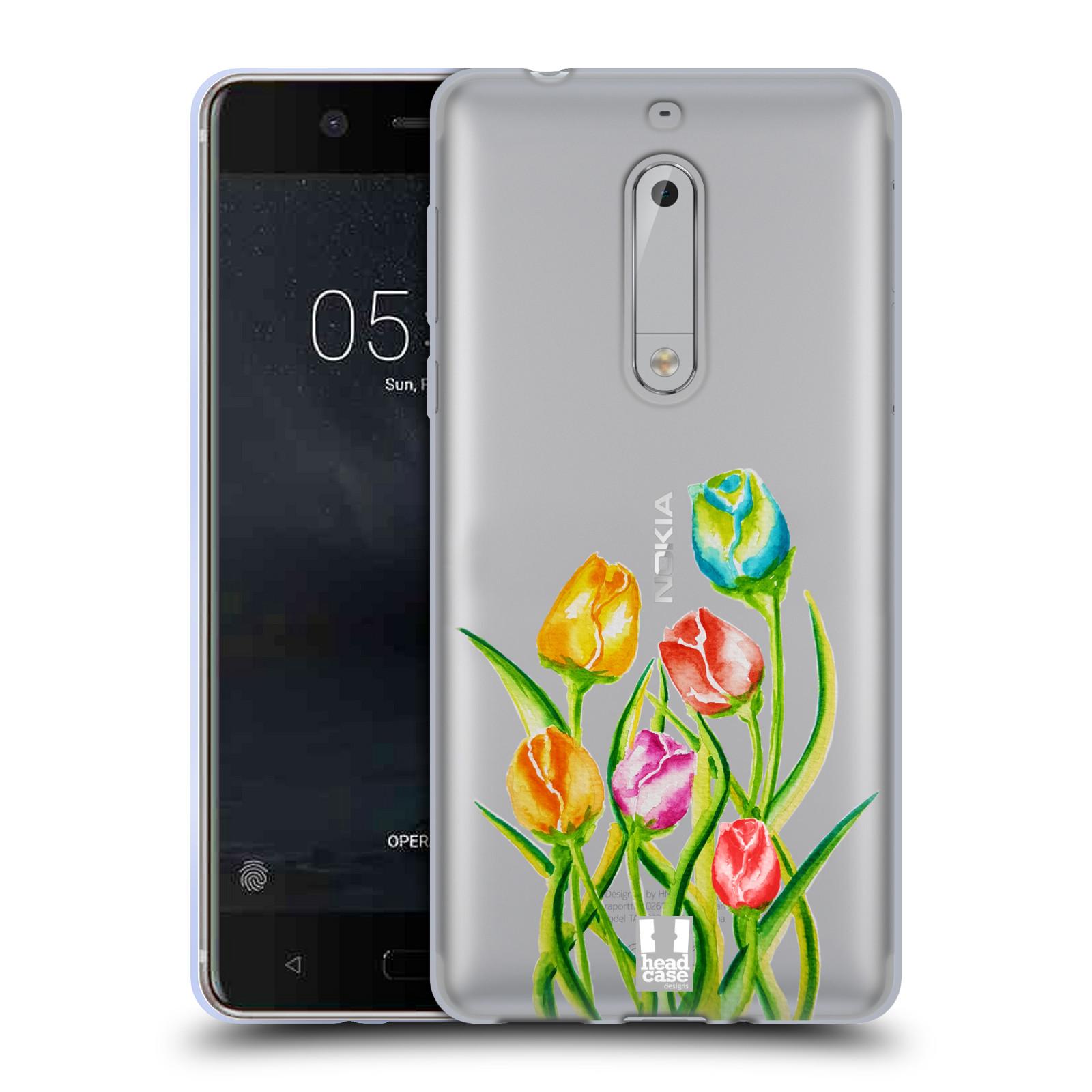 HEAD CASE silikonový obal na mobil Nokia 5 Květina Tulipán vodní barvy