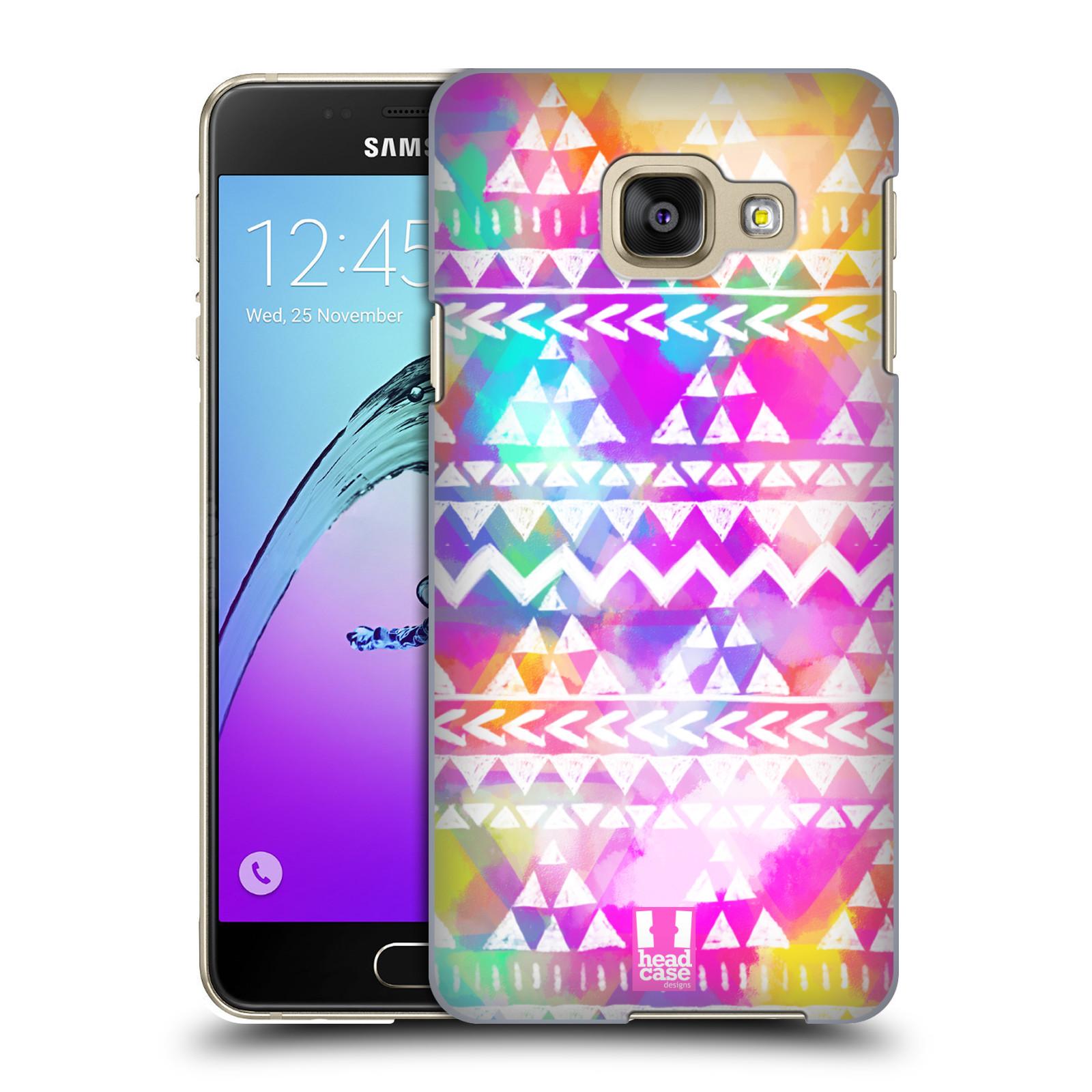 7fc5d662e HEAD CASE plastový obal na mobil SAMSUNG GALAXY A3 (2016) vzor CIK CAK  barevné znaky ZÁŘIVA RŮŽOVÁ