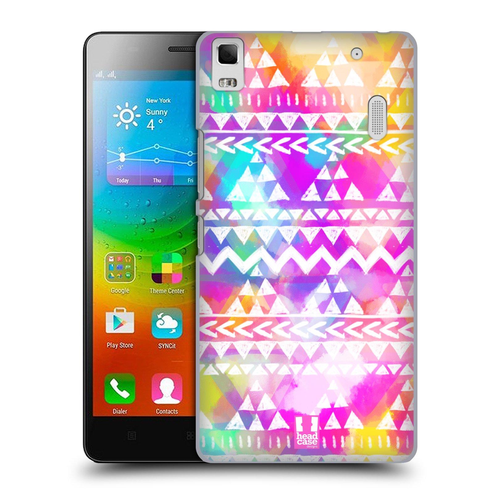 HEAD CASE pevný plastový obal na mobil LENOVO A7000 / A7000 DUAL / K3 NOTE vzor CIK CAK barevné znaky ZÁŘIVA RŮŽOVÁ