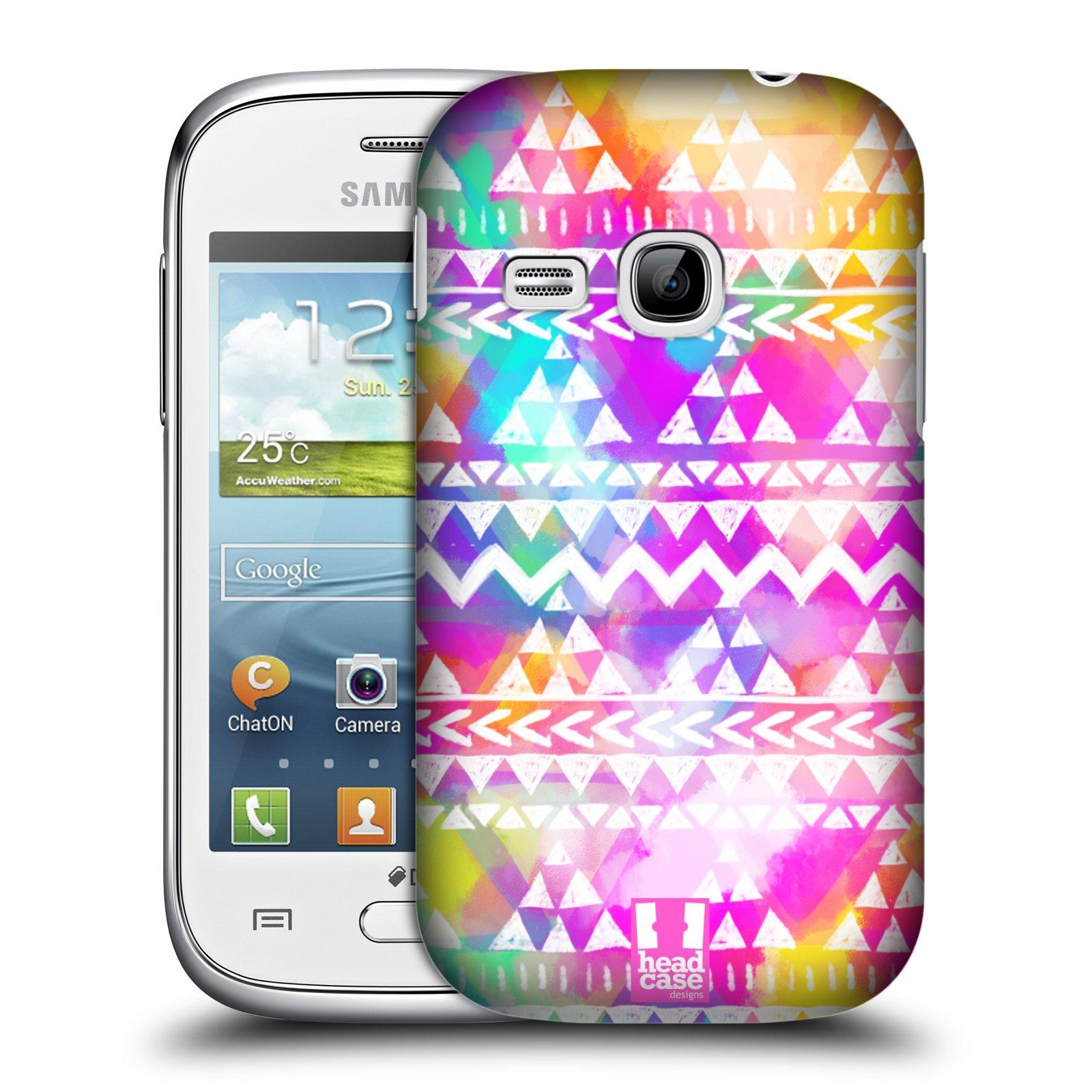 HEAD CASE plastový obal na mobil SAMSUNG Galaxy Young S6310 vzor CIK CAK barevné znaky ZÁŘIVA RŮŽOVÁ