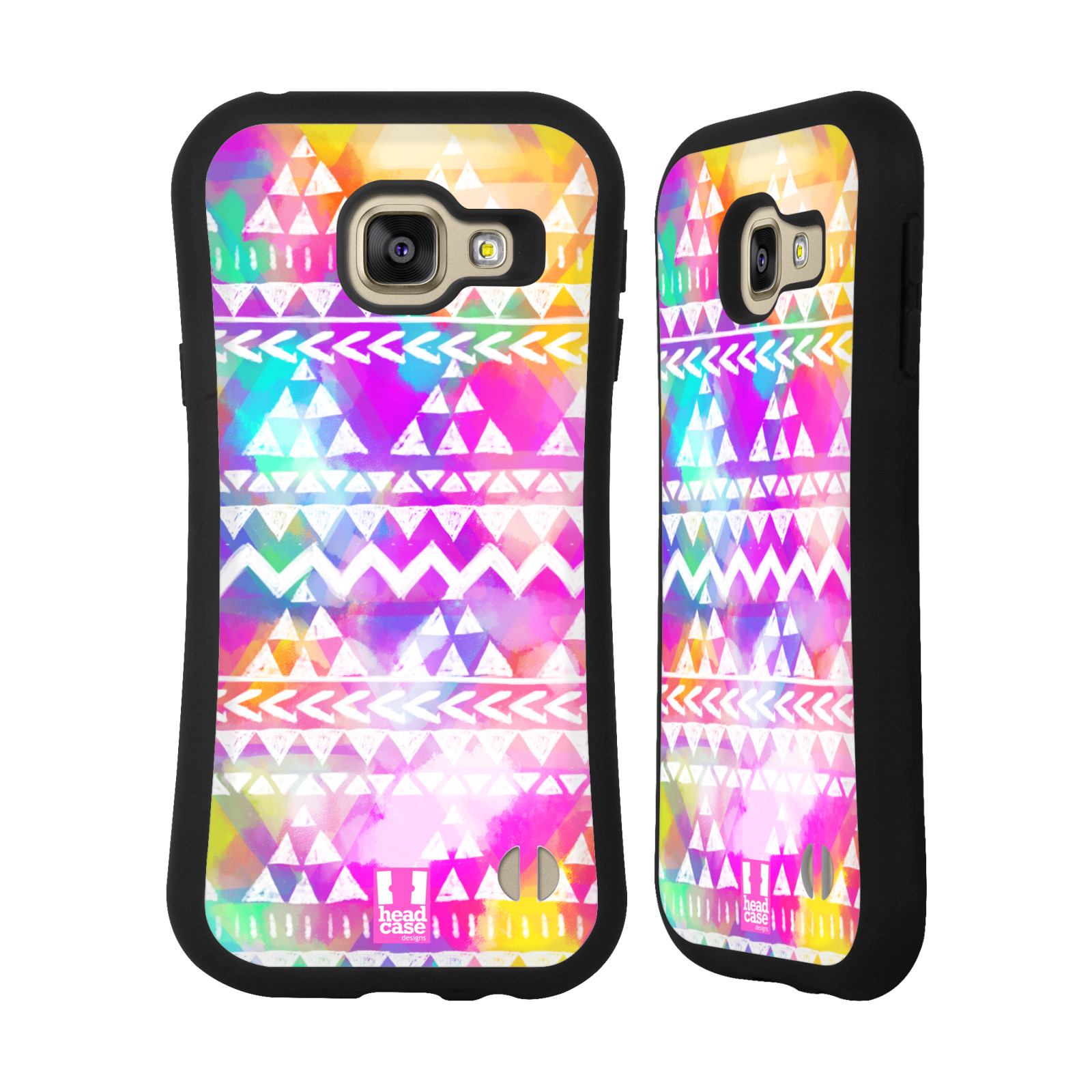 d77a6b84d HEAD CASE silikon/plast odolný obal na mobil Samsung Galaxy A3 2016 vzor CIK  CAK barevné znaky ZÁŘIVA RŮŽOVÁ
