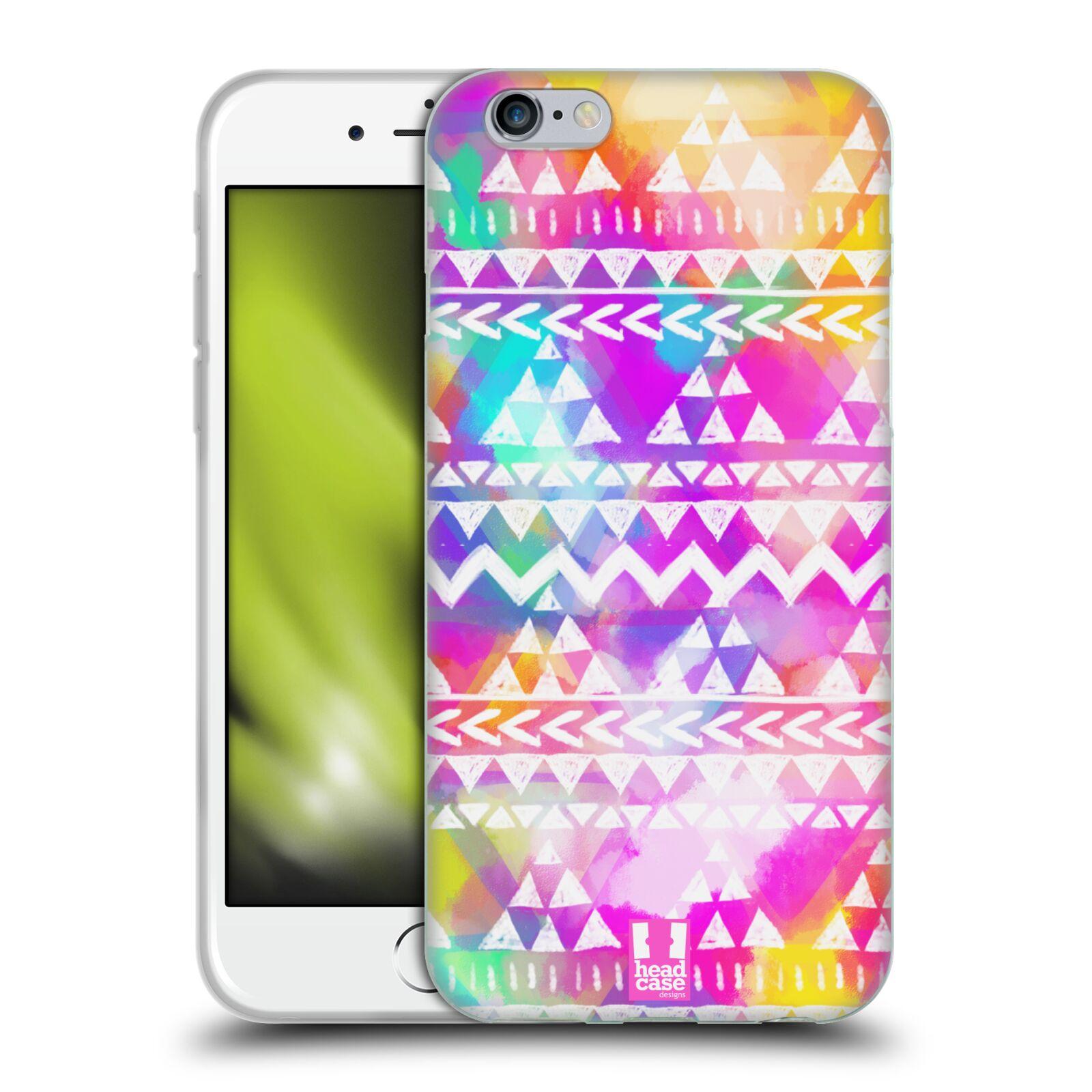 HEAD CASE silikonový obal na mobil Apple Iphone 6/6S vzor CIK CAK barevné znaky ZÁŘIVA RŮŽOVÁ
