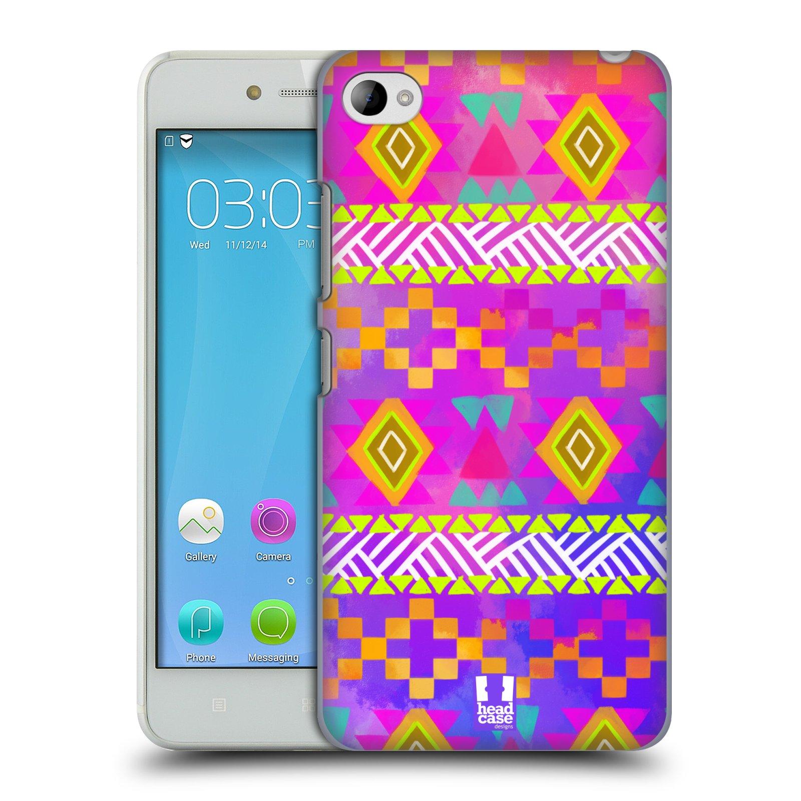 HEAD CASE pevný plastový obal na mobil LENOVO S90 vzor CIK CAK barevné znaky fuchsie