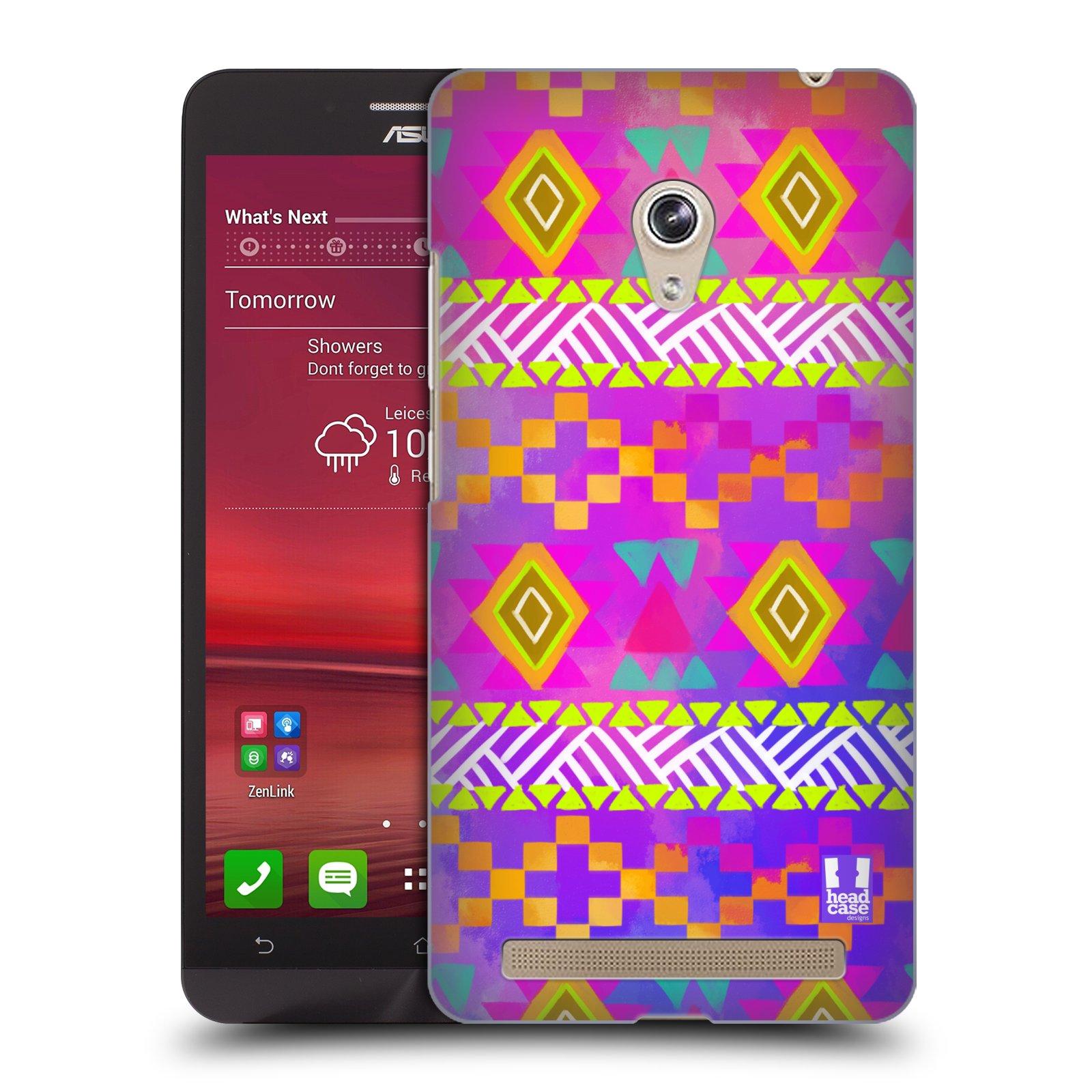 HEAD CASE plastový obal na mobil Asus Zenfone 6 vzor CIK CAK barevné znaky fuchsie