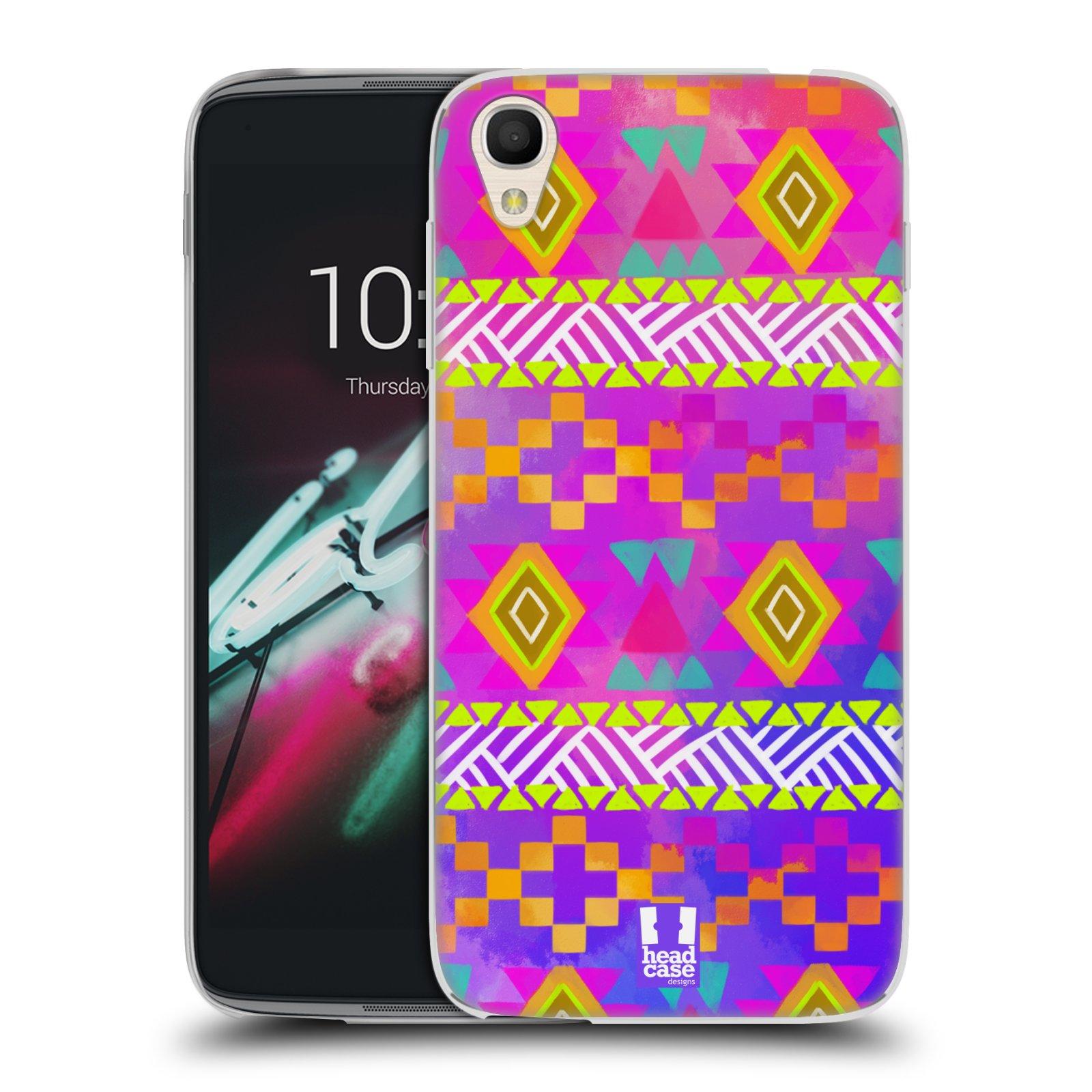 HEAD CASE silikonový obal na mobil Alcatel Idol 3 OT-6039Y (4.7) vzor CIK CAK barevné znaky fuchsie