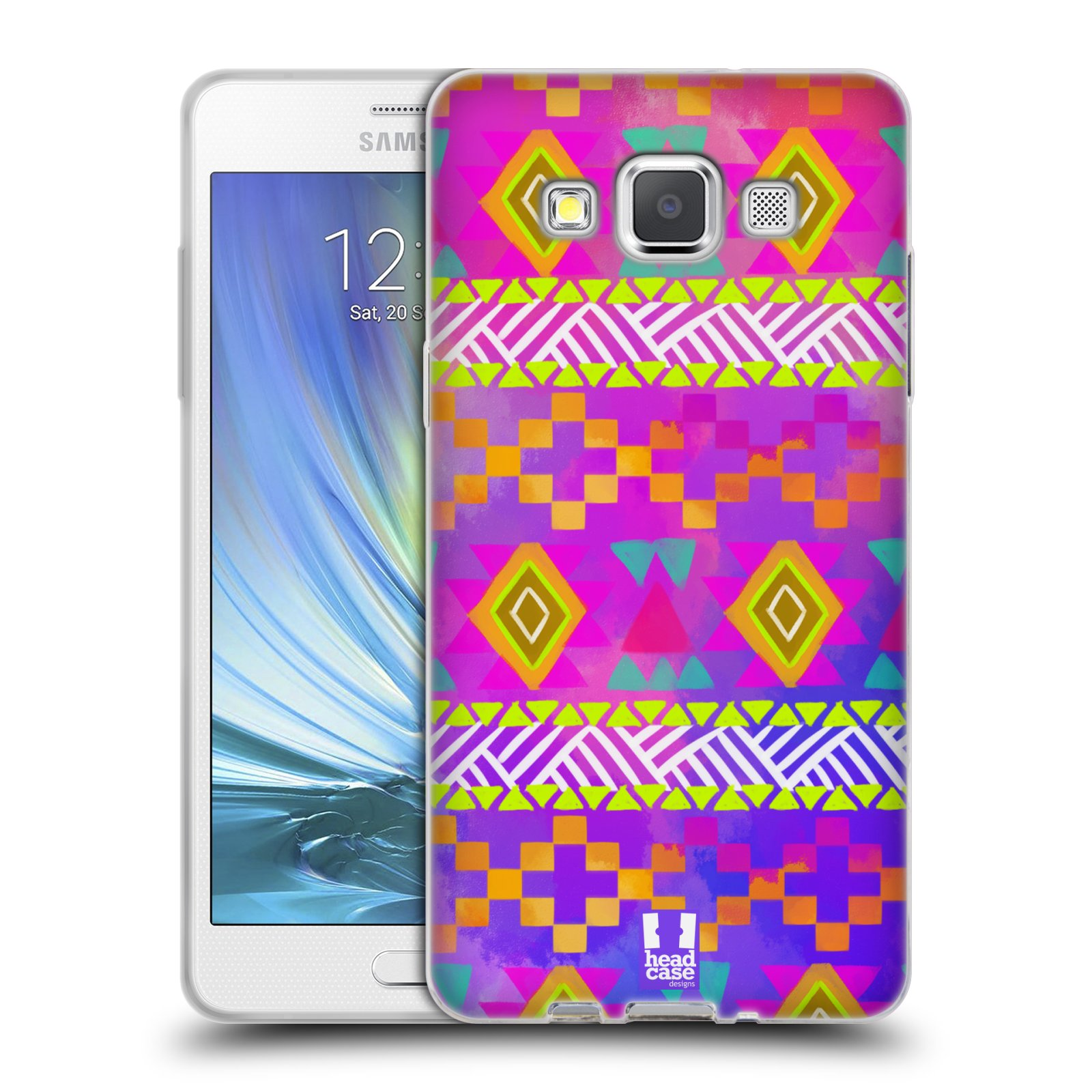 HEAD CASE silikonový obal na mobil Samsung Galaxy A5 vzor CIK CAK barevné znaky fuchsie