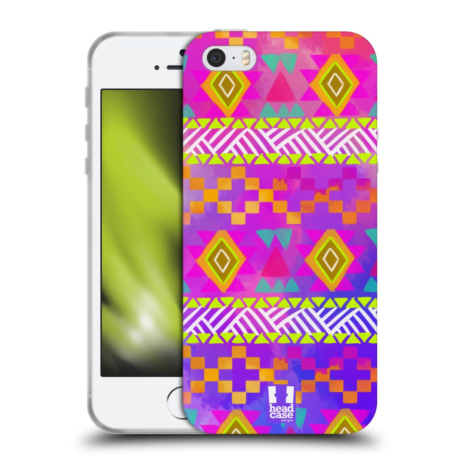 HEAD CASE silikonový obal na mobil Apple Iphone 5/5S vzor CIK CAK barevné znaky fuchsie