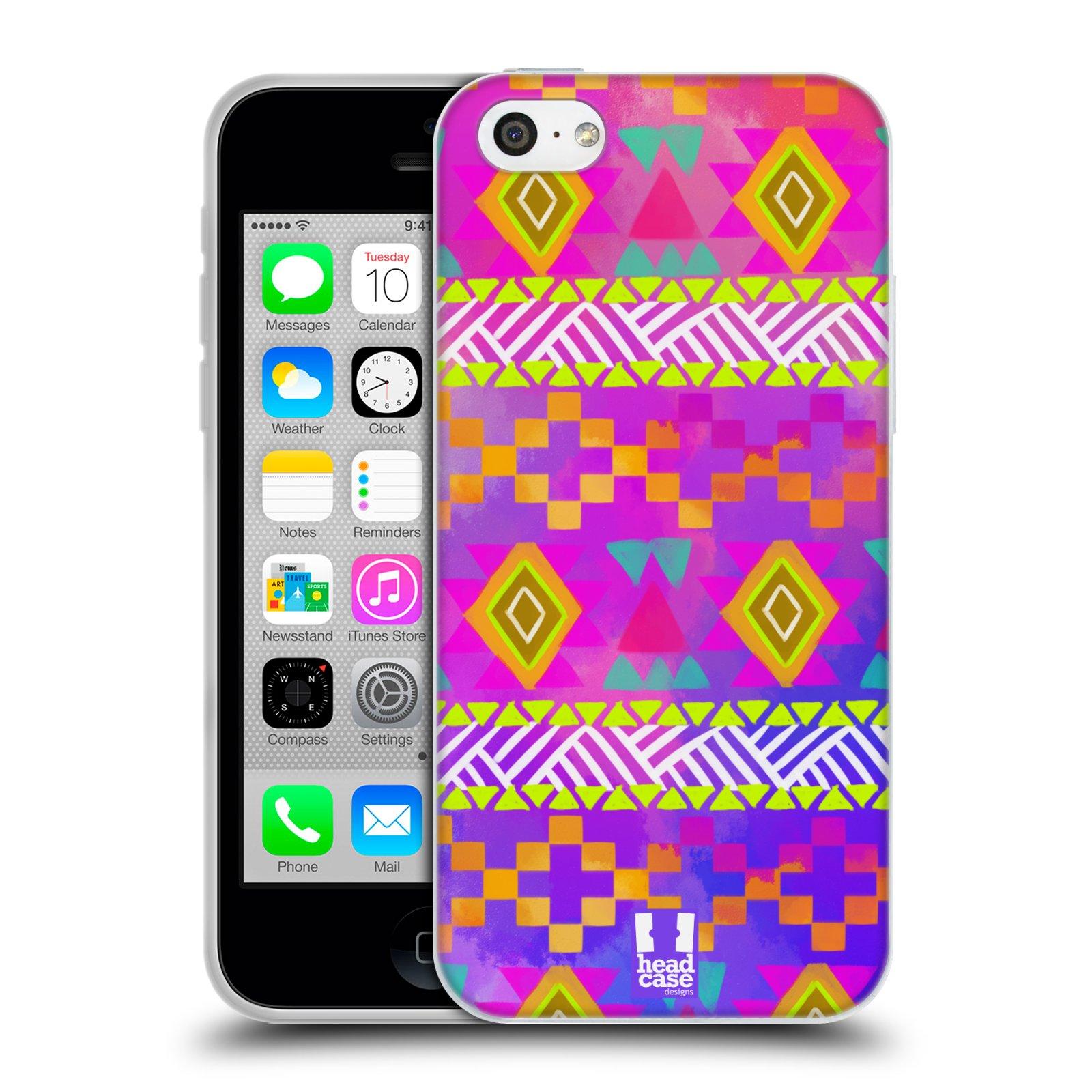 HEAD CASE silikonový obal na mobil Apple Iphone 5C vzor CIK CAK barevné znaky fuchsie