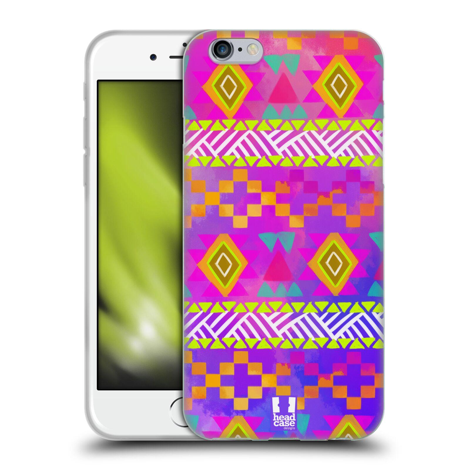 HEAD CASE silikonový obal na mobil Apple Iphone 6/6S vzor CIK CAK barevné znaky fuchsie