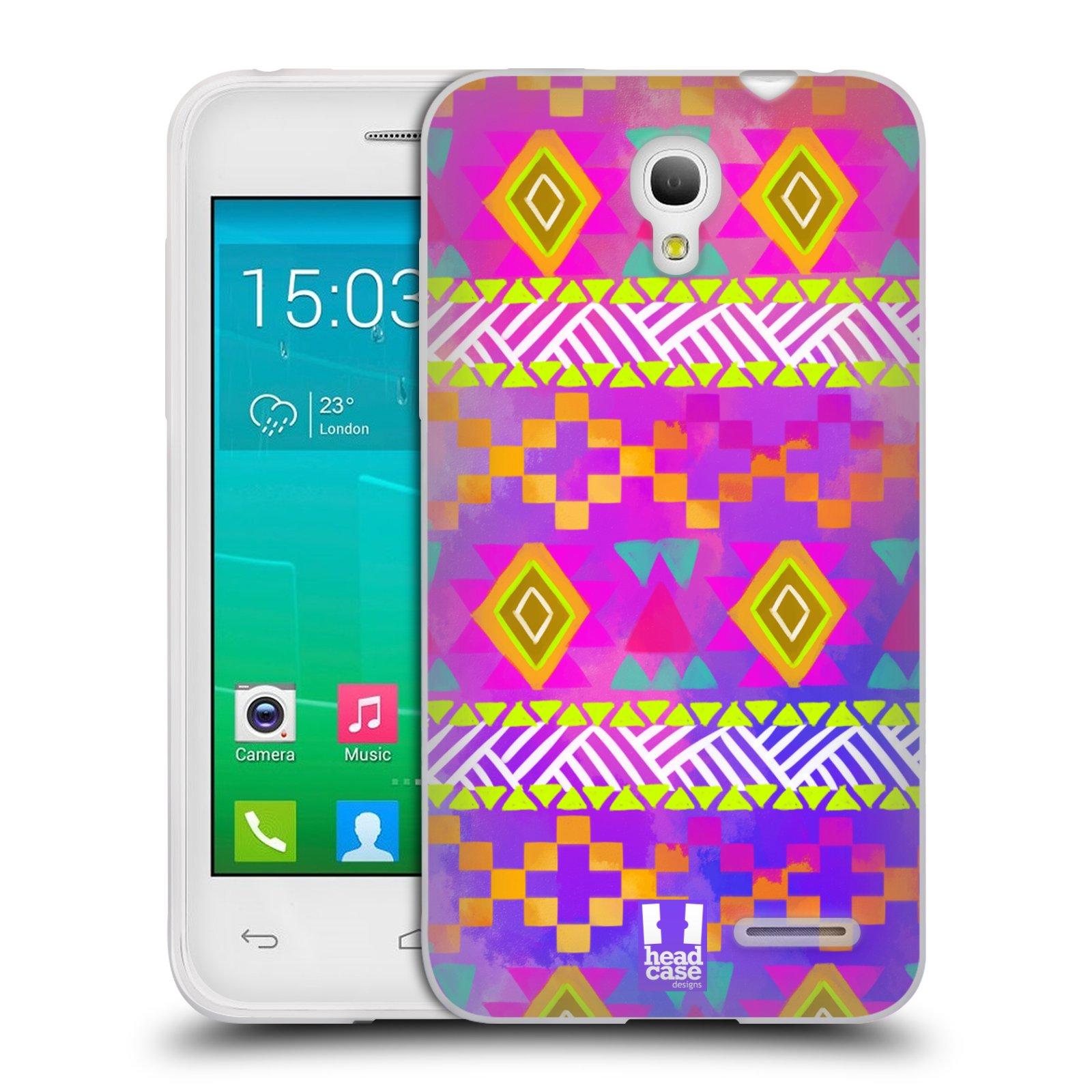 HEAD CASE silikonový obal na mobil Alcatel POP S3 OT-5050Y vzor CIK CAK barevné znaky fuchsie
