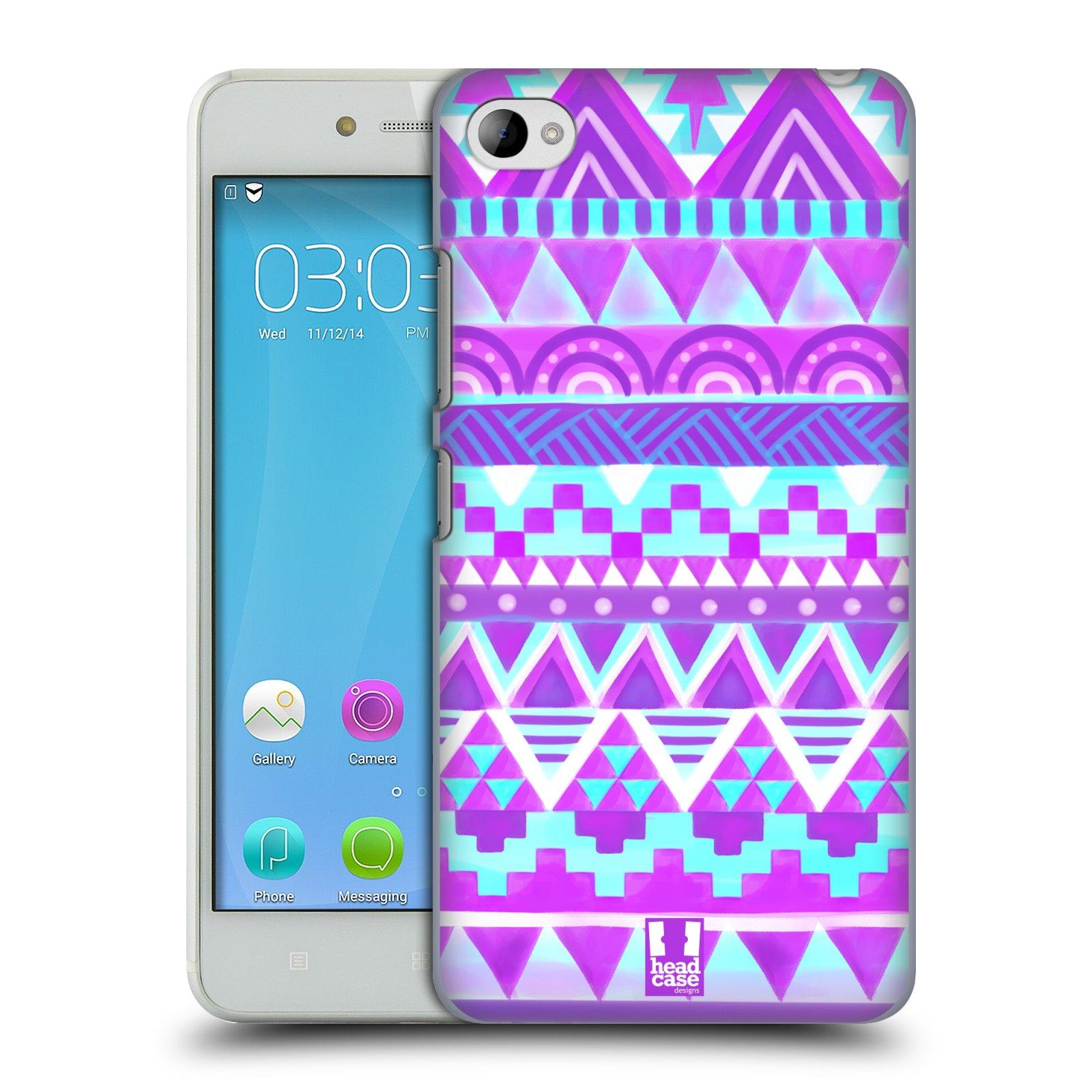 HEAD CASE pevný plastový obal na mobil LENOVO S90 vzor CIK CAK barevné znaky FIALOVÉ NEBE