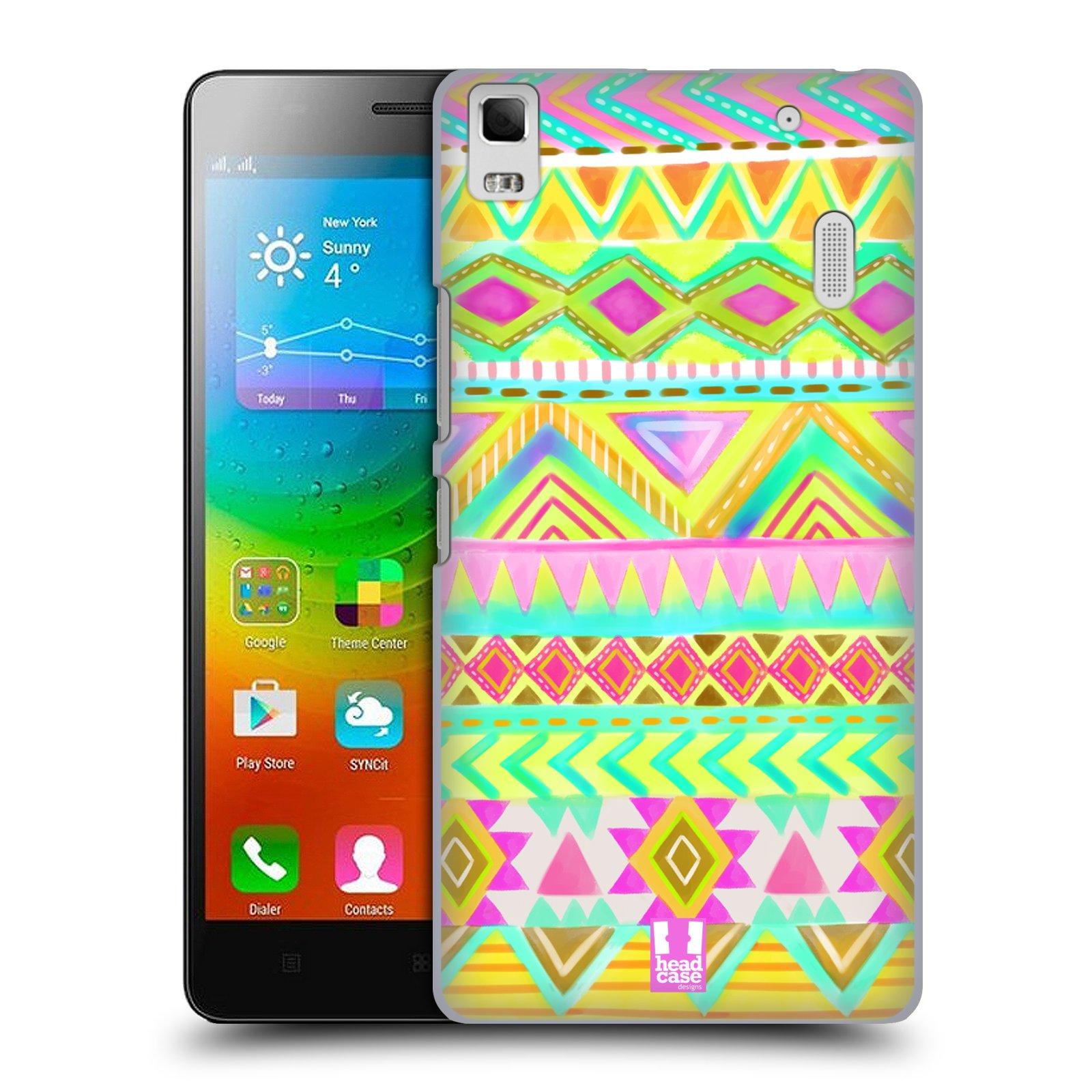 HEAD CASE pevný plastový obal na mobil LENOVO A7000 / A7000 DUAL / K3 NOTE vzor CIK CAK barevné znaky VÝCHOD SLUNCE