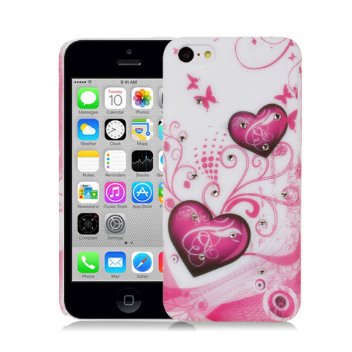 WHITE-HEARTS-WITH-CRYSTAL-STUDS-DESIGN-HARD-BACK-CASE-COVER-FOR-APPLE-iPHONE-5C