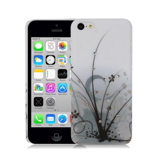 BLACK-MYSTIC-GRASS-WITH-CRYSTAL-STUDS-DESIGN-HARD-BACK-CASE-FOR-APPLE-iPHONE-5C