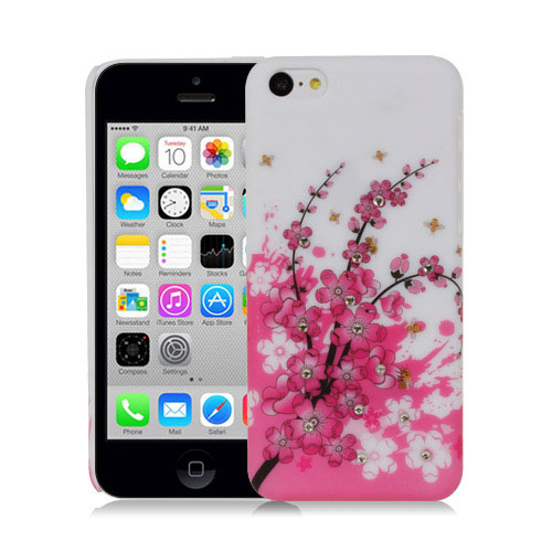 PINK-PLUM-BLOSSOMS-WITH-CRYSTAL-STUDS-DESIGN-HARD-BACK-CASE-FOR-APPLE-iPHONE-5C