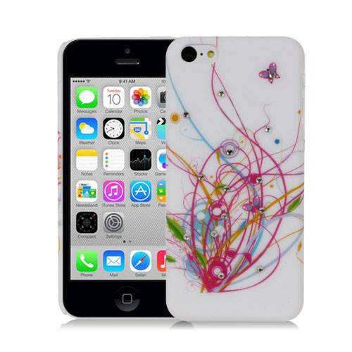 BUTTERFLY-SWIRLS-WITH-CRYSTAL-STUDS-DESIGN-HARD-BACK-CASE-FOR-APPLE-iPHONE-5C