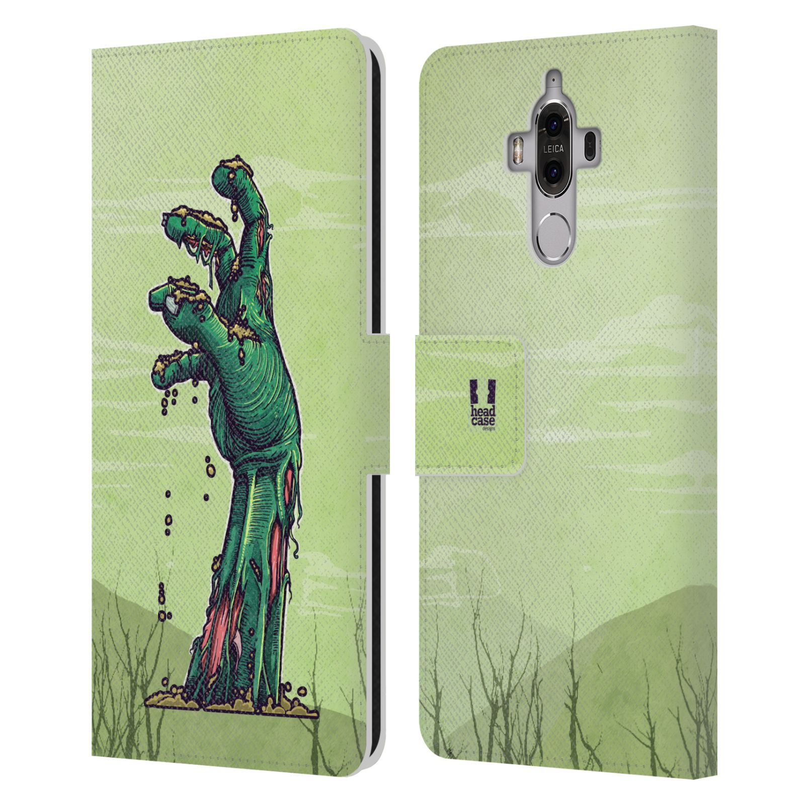HEAD-CASE-DESIGNS-ZOMBIES-LEATHER-BOOK-WALLET-CASE-COVER-FOR-HUAWEI-MATE-9
