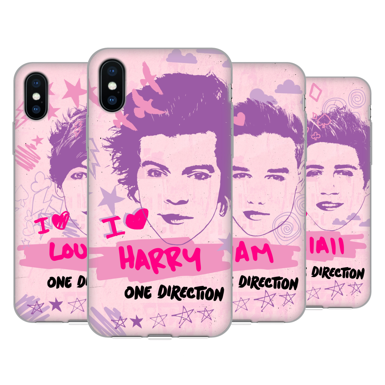 One Direction Pink Graphic Faces