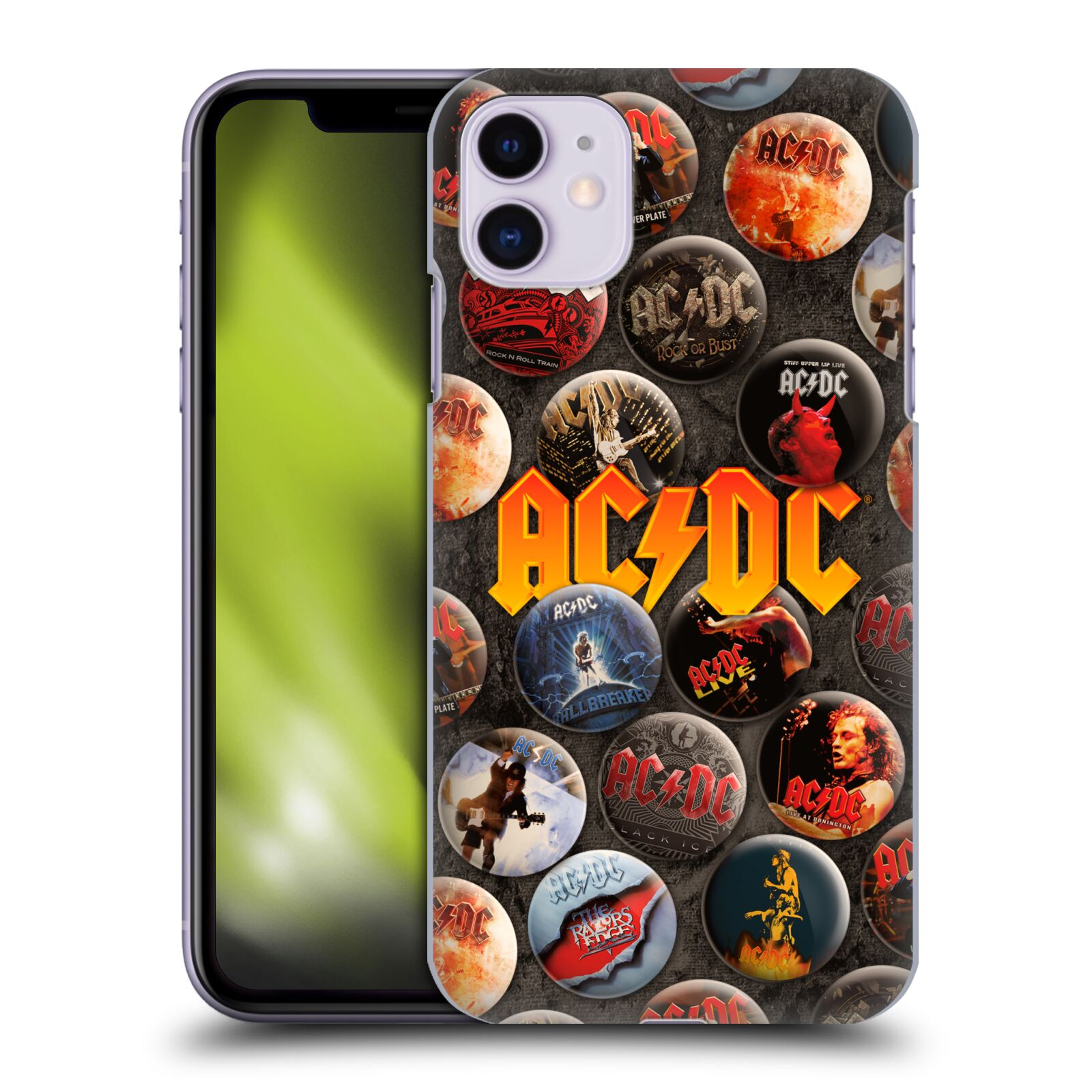 Official AC/DC ACDC Button Pins Logo Back Case for Apple iPhone 11