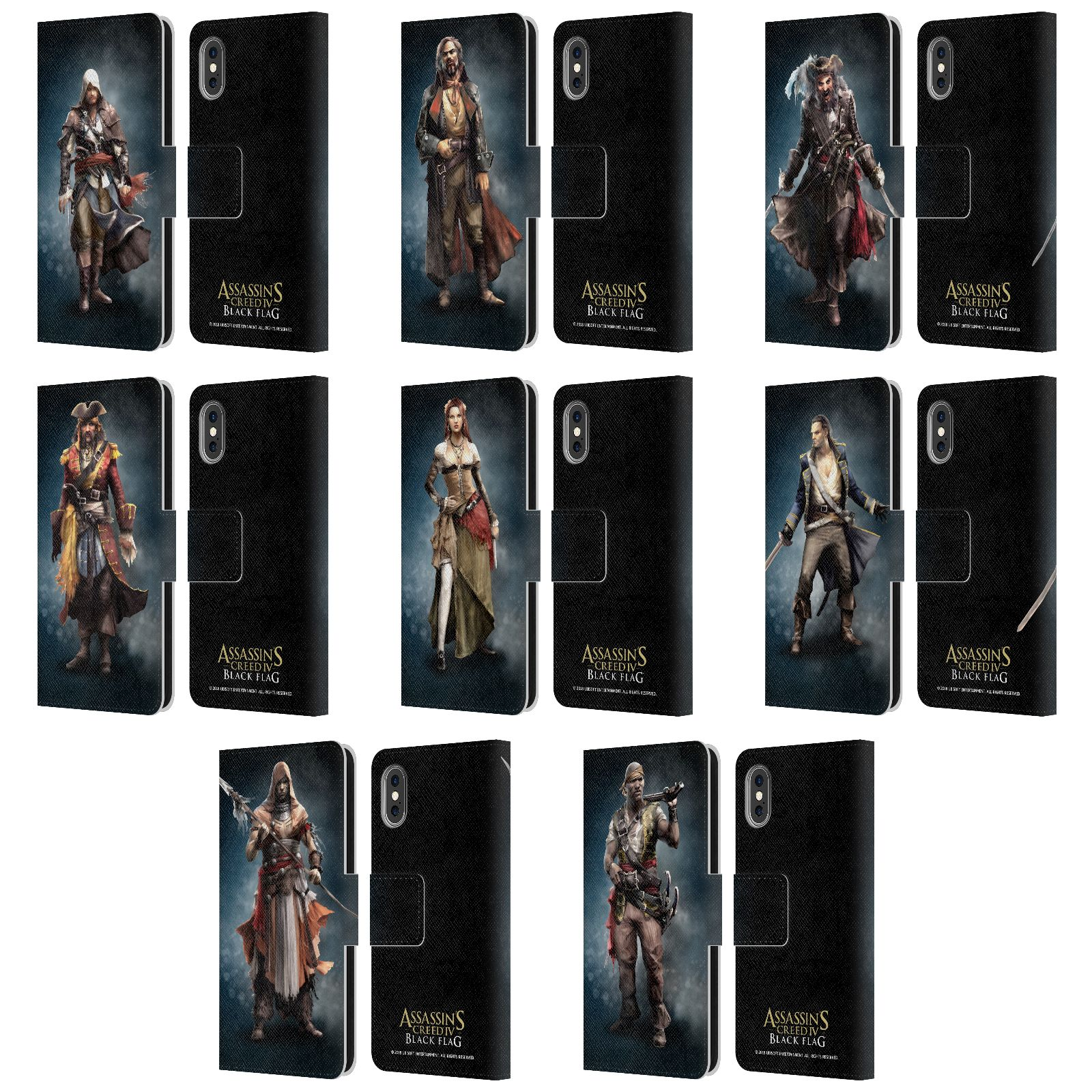Assassin S Creed Black Flag Characters Leather Book Case For Apple