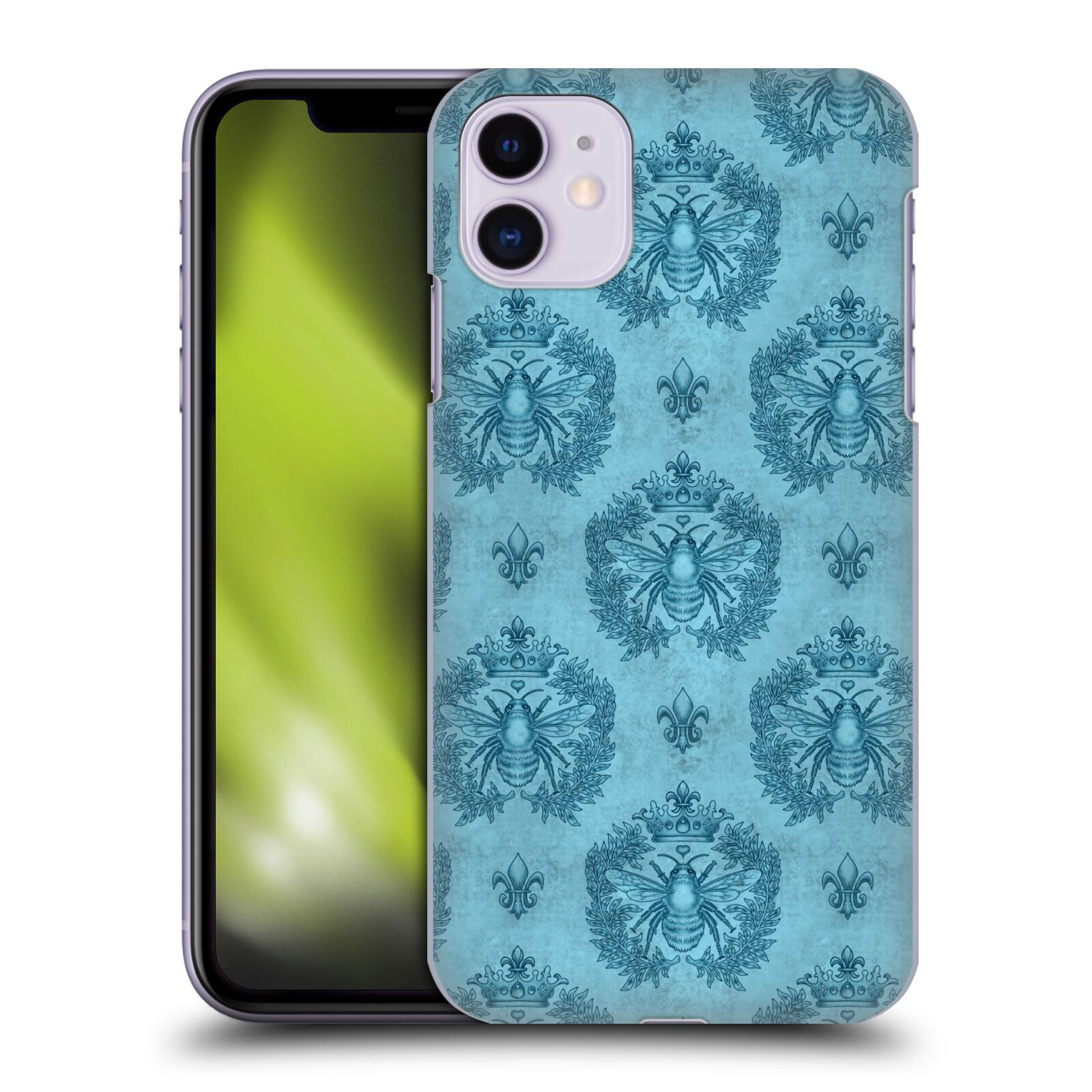 Official Brigid Ashwood Patterns Teal French Bee Back Case for Apple iPhone 11