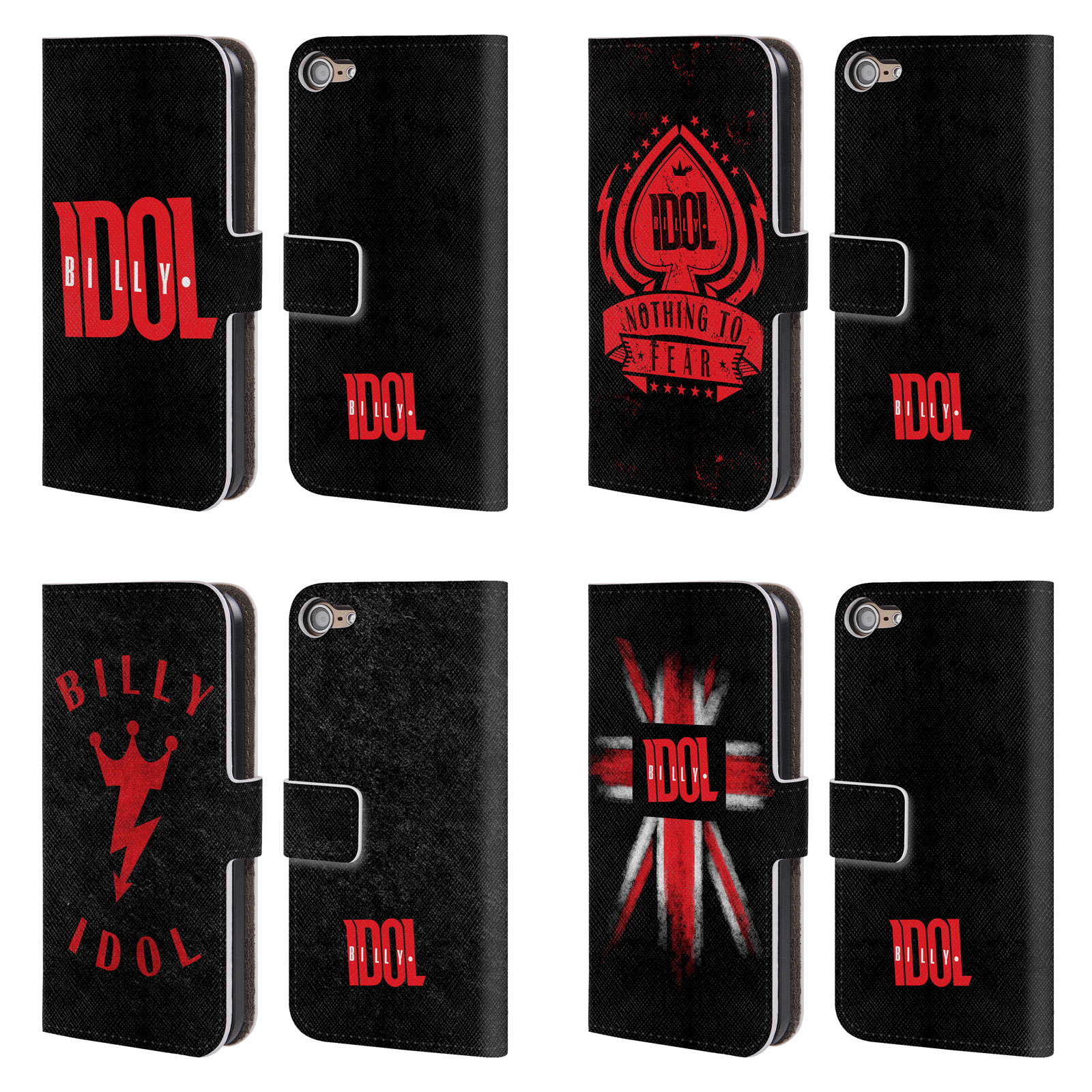 Official Billy Idol Logo Leather Book Wallet Case Cover For Apple Ipod Touch Mp3