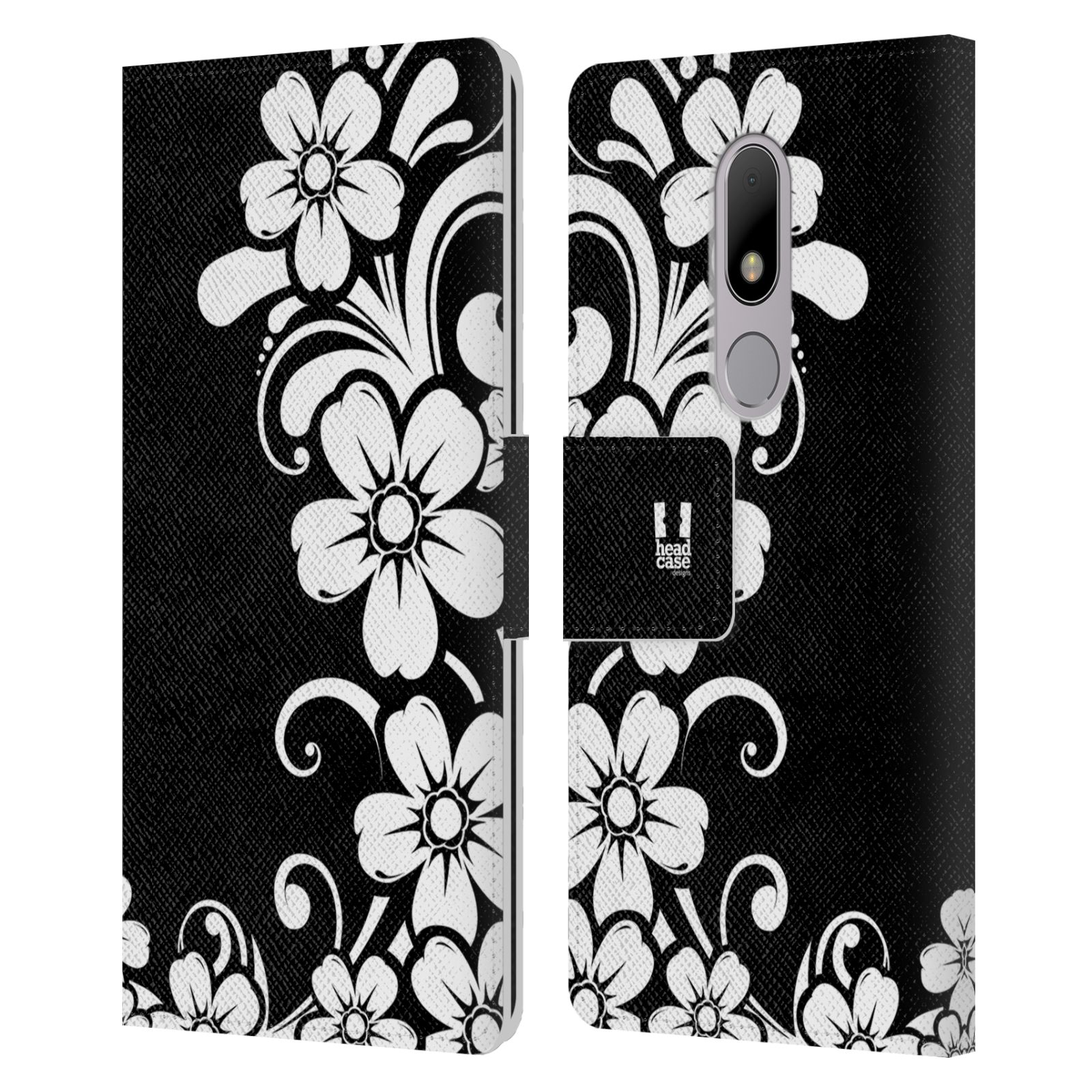HEAD-CASE-DESIGNS-BNW-FLORAL-LEATHER-BOOK-WALLET-CASE-COVER-FOR-MOTOROLA-MOTO-M