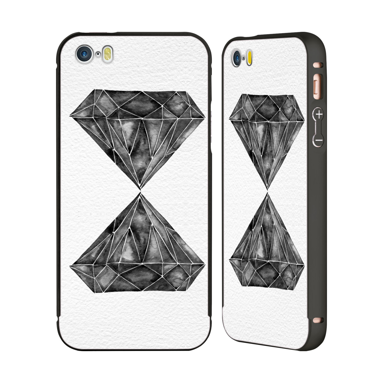 CAT-COQUILLETTE-WATERCOLOURED-GEMS-BLACK-SLIDER-CASE-FOR-APPLE-iPHONE-PHONES