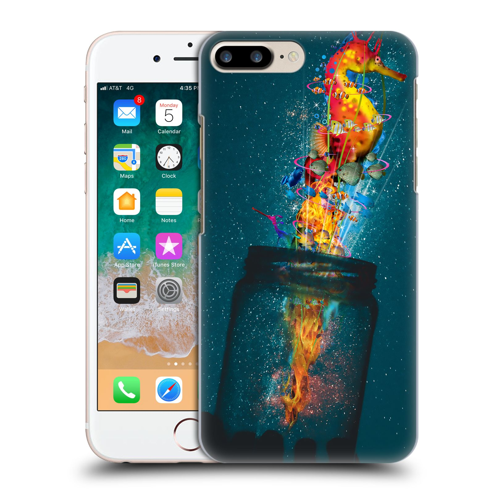 Official Dave Loblaw Forest & Space Electric Seahorse Case for Apple iPhone 7 Plus / iPhone 8 Plus