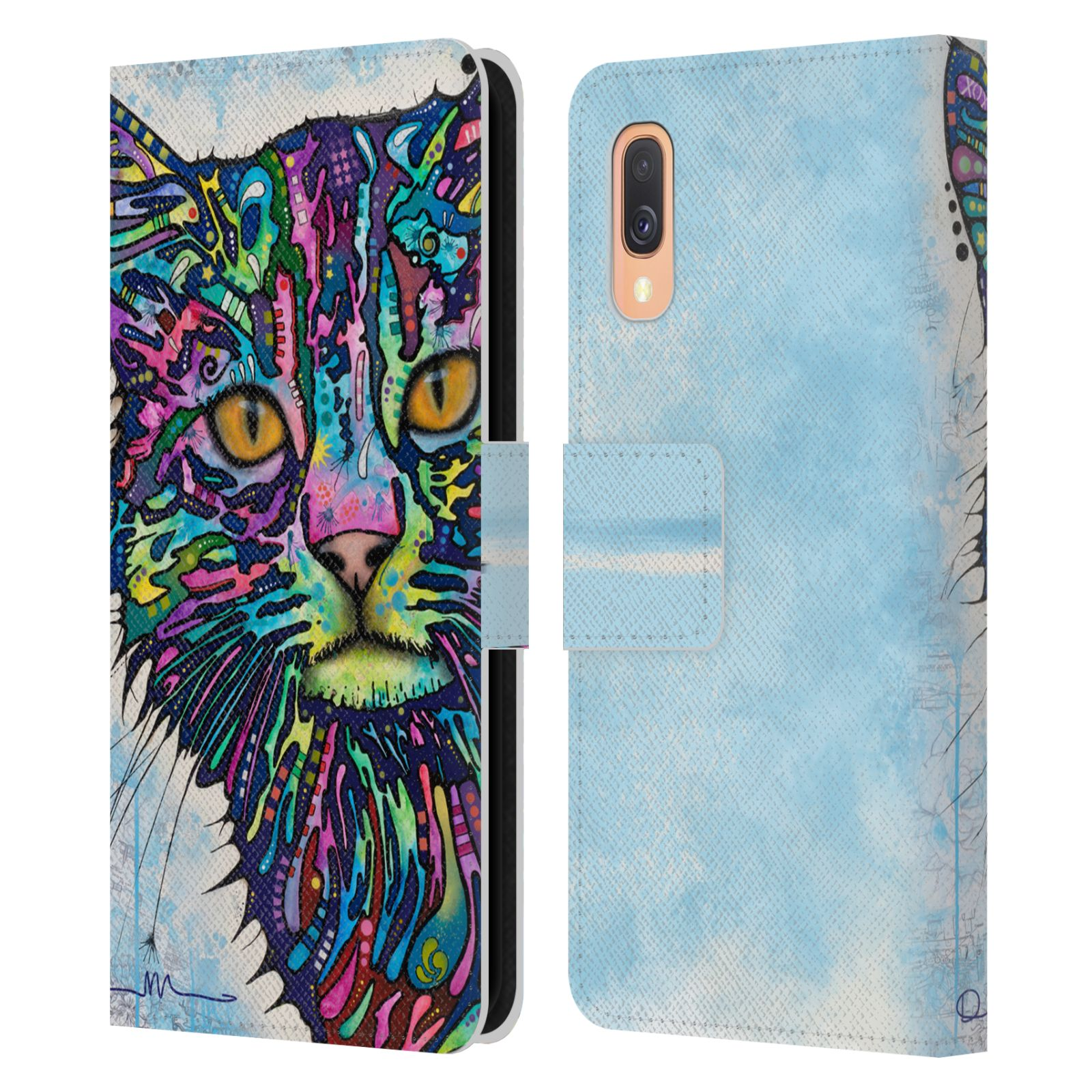 Official Dean Russo Cats Diligence Leather Book Wallet Case For Samsung Galaxy A40 (2019)
