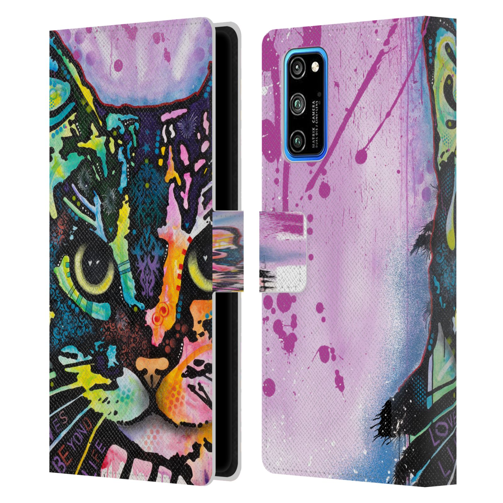 Official Dean Russo Cats Maya Leather Book Wallet Case For Huawei Honor V30 Pro / View 30 Pro