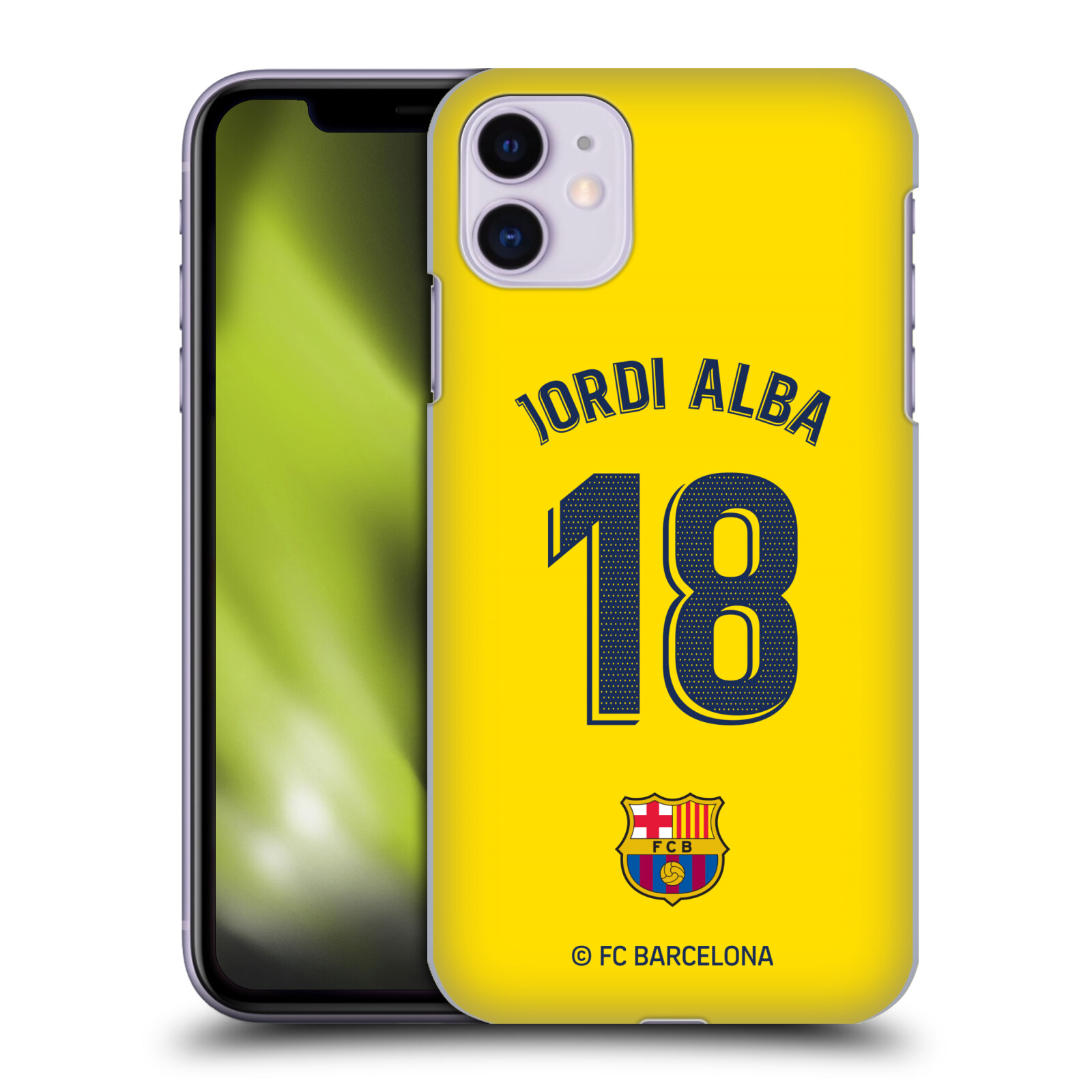 Official FC Barcelona 2019/20 Players Away Kit Group 1 Jordi Alba Case for Apple iPhone 11