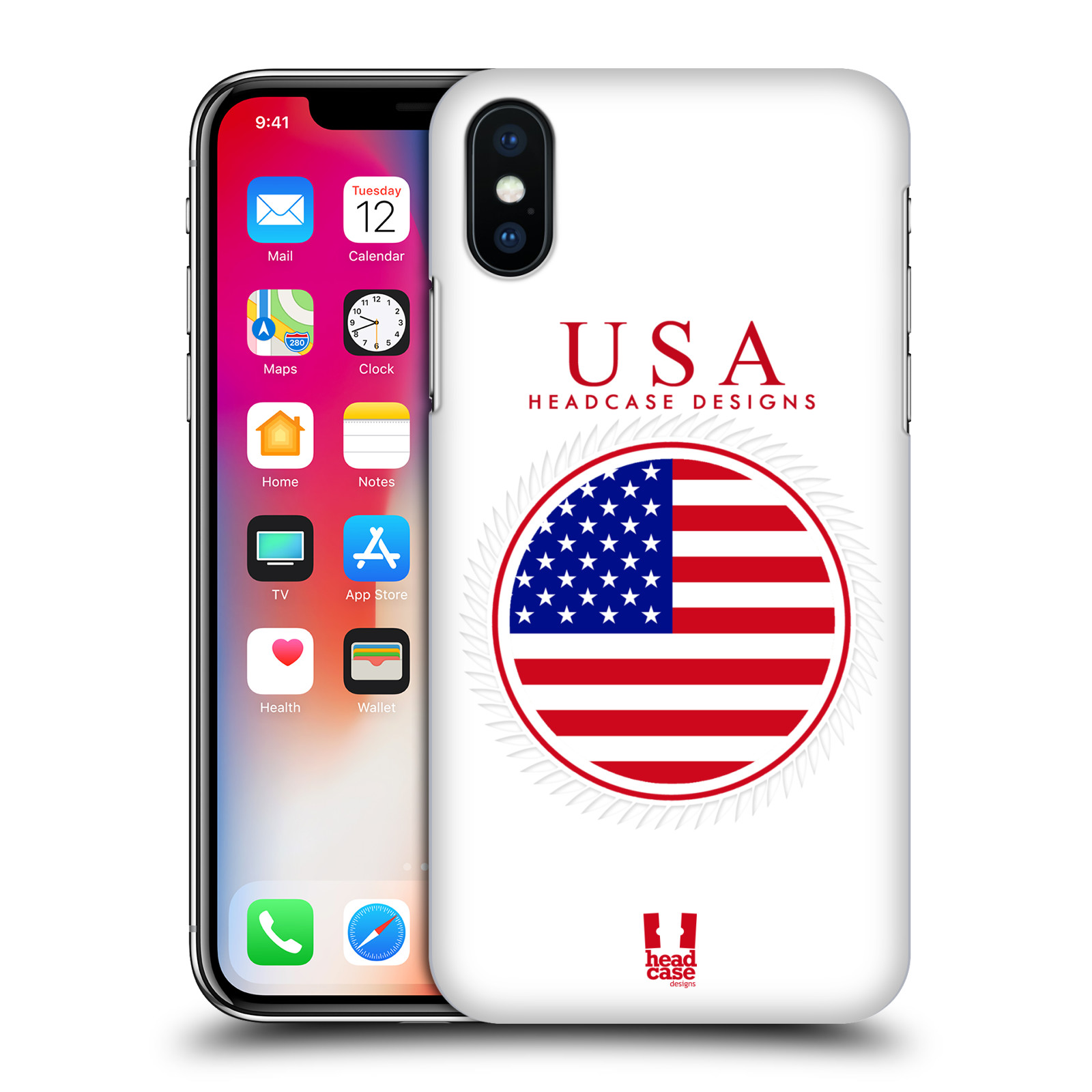 HEAD-CASE-DESIGNS-FLAG-PATCHES-SET-2-HARD-BACK-CASE-FOR-APPLE-iPHONE-X