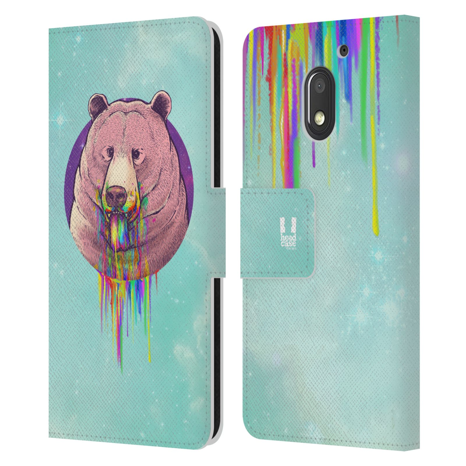 HEAD-CASE-DESIGNS-RAINBOW-PUKE-LEATHER-BOOK-CASE-FOR-MOTOROLA-MOTO-E3-POWER
