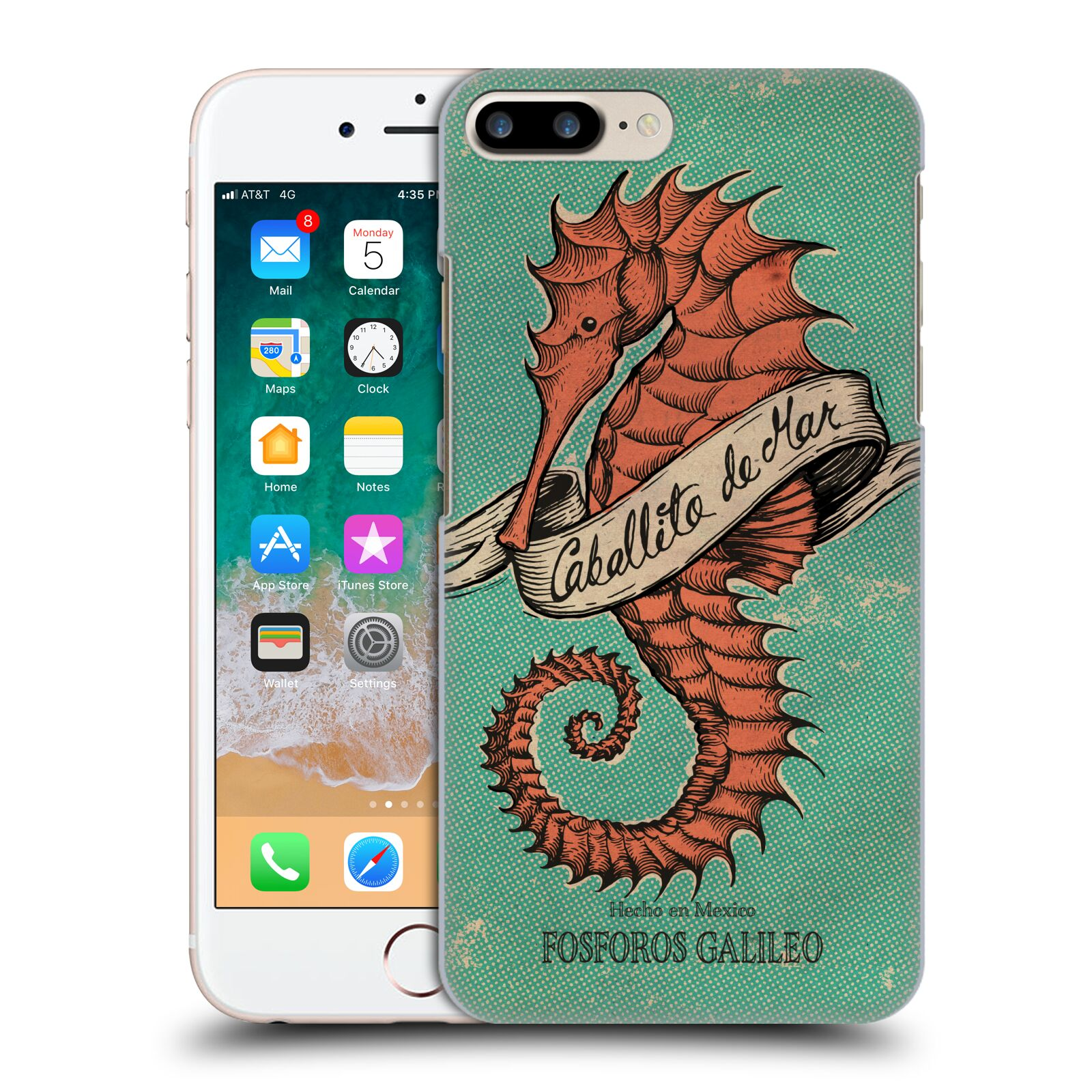 Official Fosforos Galileo Diseños Caballito De Mar Case for Apple iPhone 7 Plus / iPhone 8 Plus