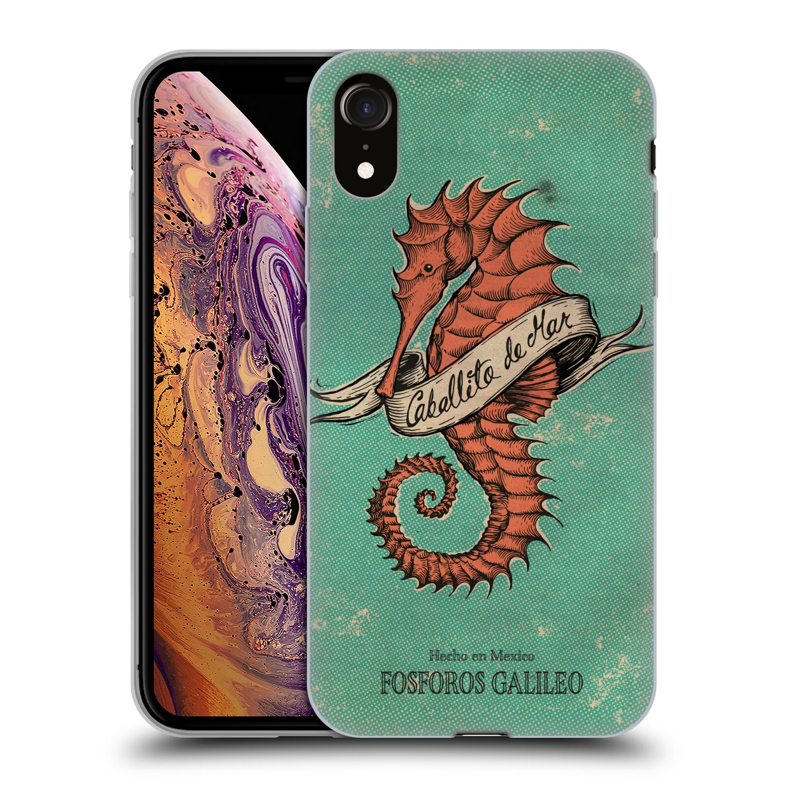 Official Fosforos Galileo Diseños Caballito De Mar Gel Case for Apple iPhone XR