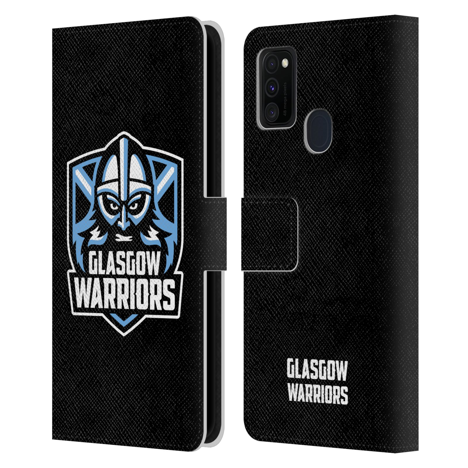 Official Glasgow Warriors 2019/20 Logo Art Plain Black Leather Book Wallet Case For Samsung Galaxy M30s (2019)