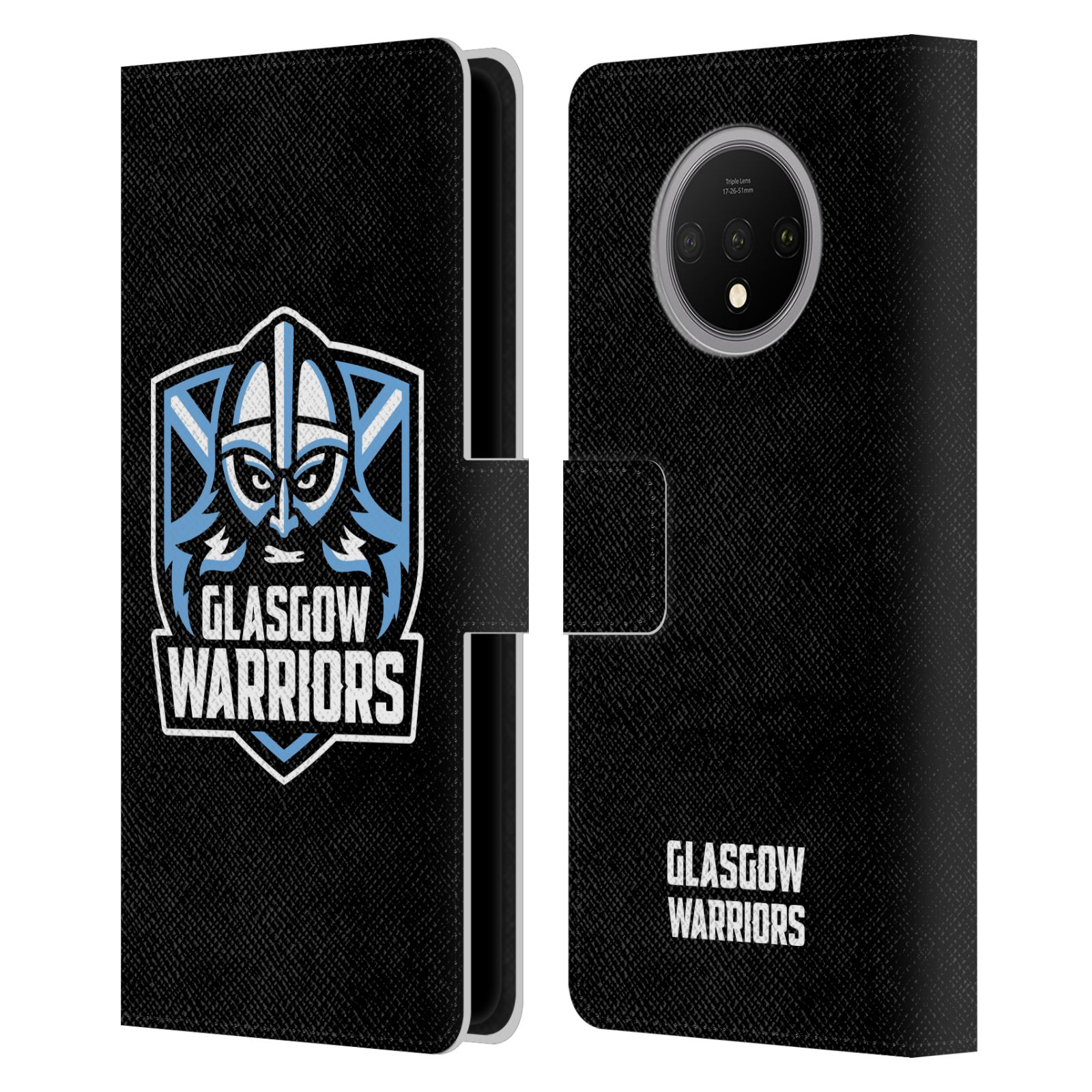 Official Glasgow Warriors 2019/20 Logo Art Plain Black Leather Book Wallet Case For OnePlus 7T