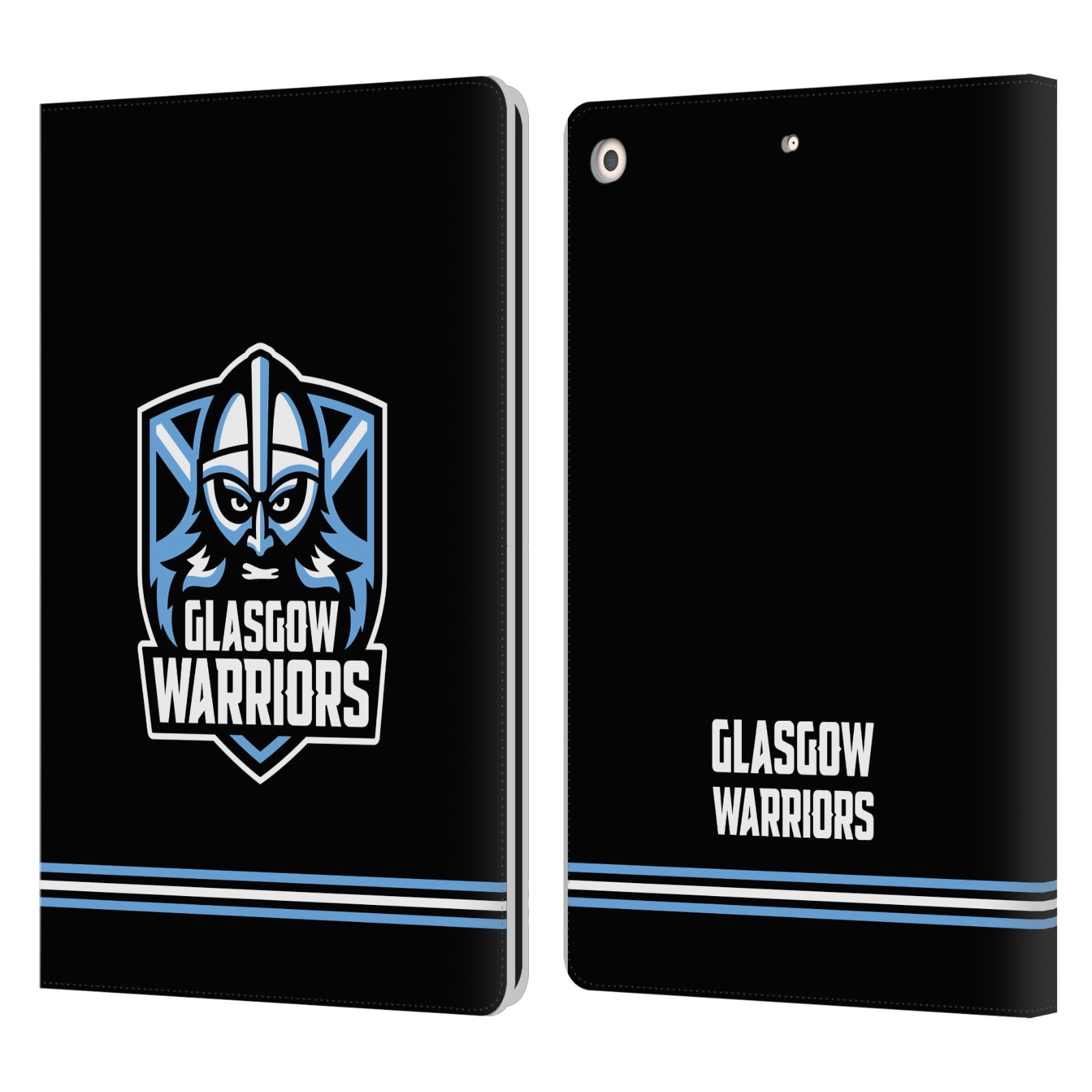 Official Glasgow Warriors 2019/20 Logo Art Stripes Black Leather Book Wallet Case For Apple iPad 10.2 (2019)