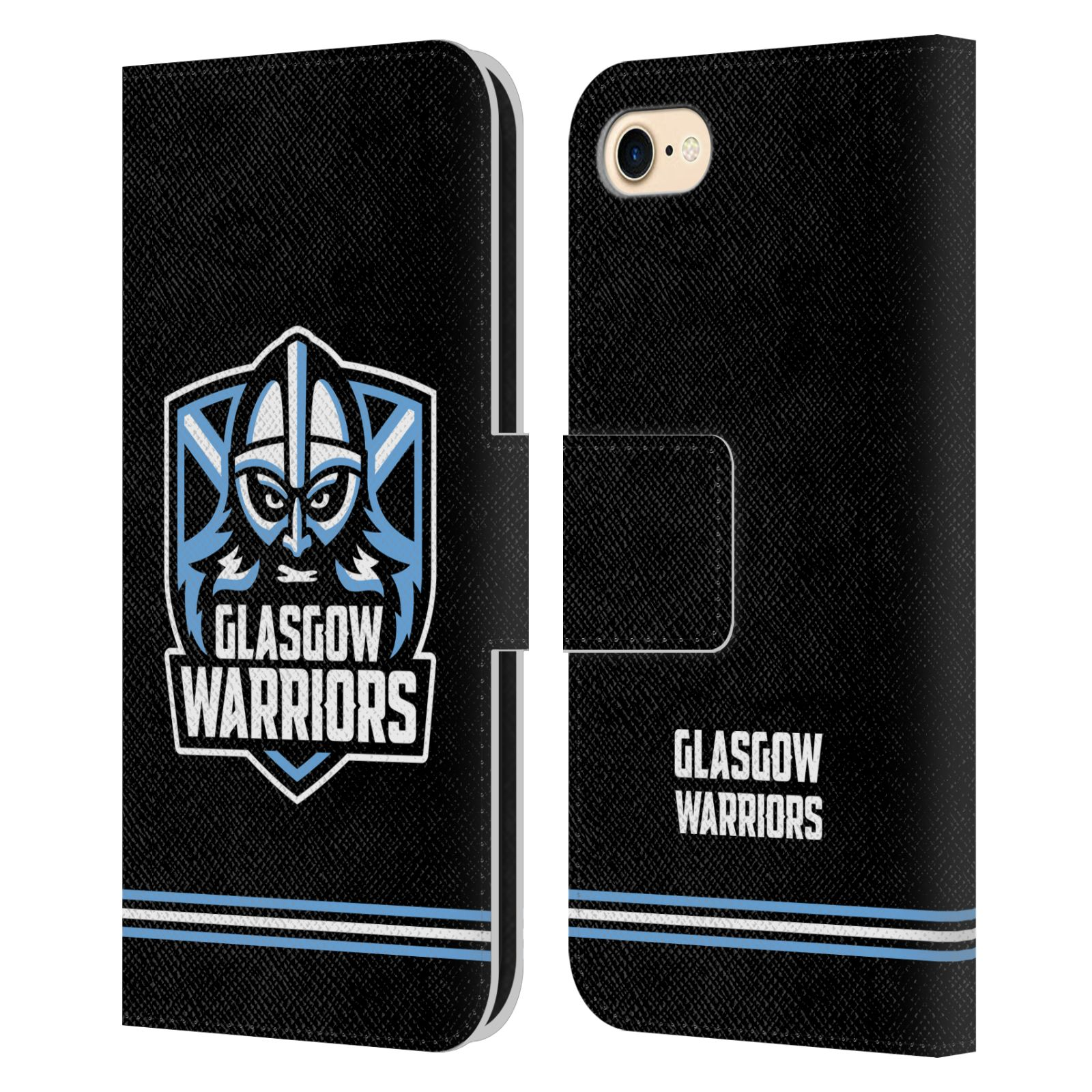 Official Glasgow Warriors 2019/20 Logo Art Stripes Black Leather Book Wallet Case For Apple iPhone 7 / 8 / iPhone SE 2020