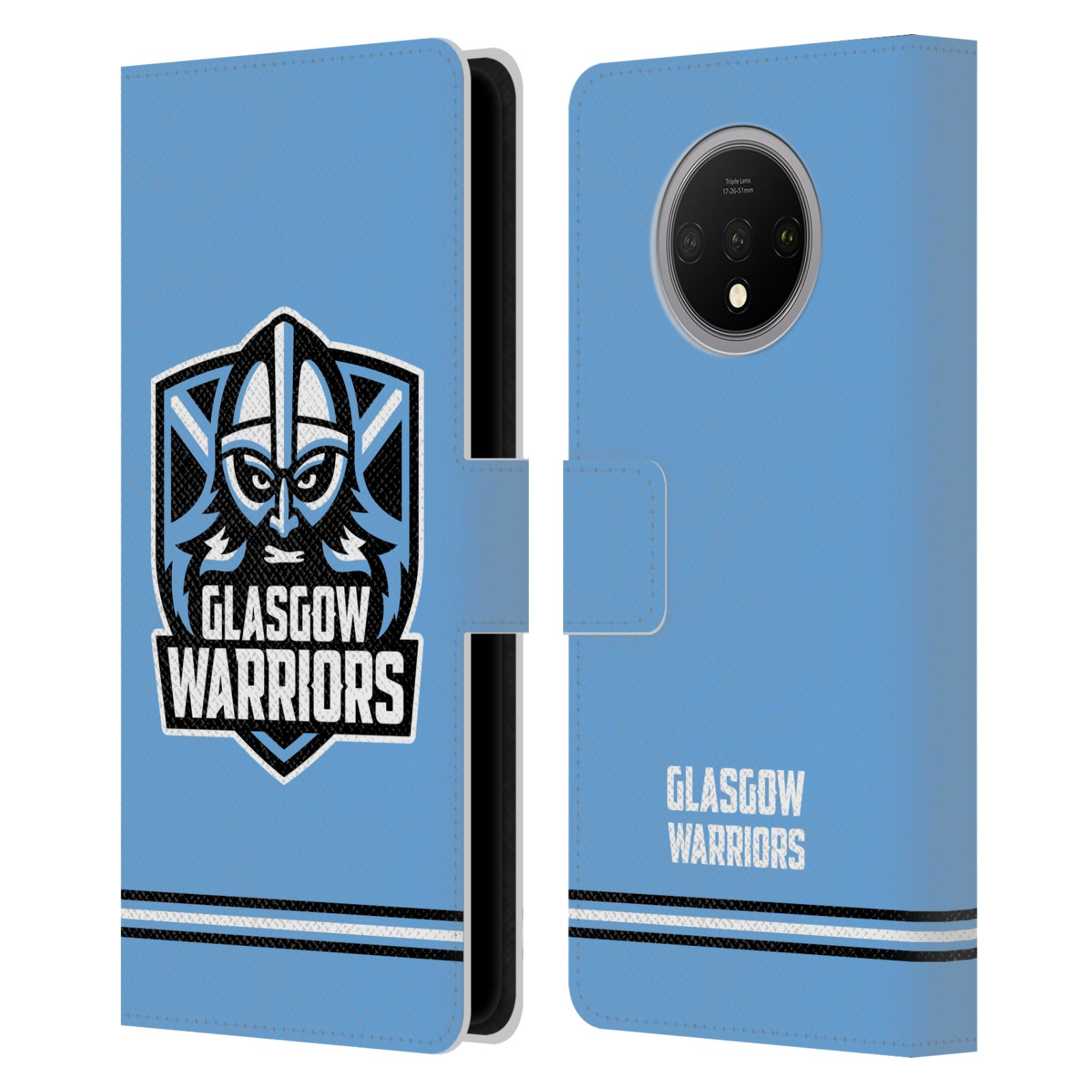 Official Glasgow Warriors 2019/20 Logo Art Stripes Blue Leather Book Wallet Case For OnePlus 7T
