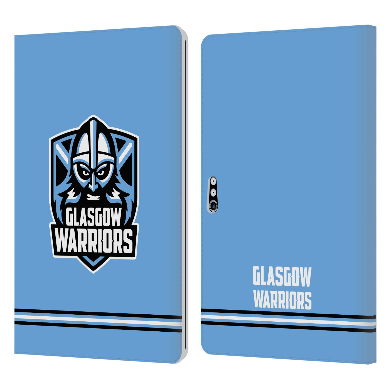 Official Glasgow Warriors 2019/20 Logo Art Stripes Blue Leather Book Wallet Case For Microsoft Surface Pro 4/5/6