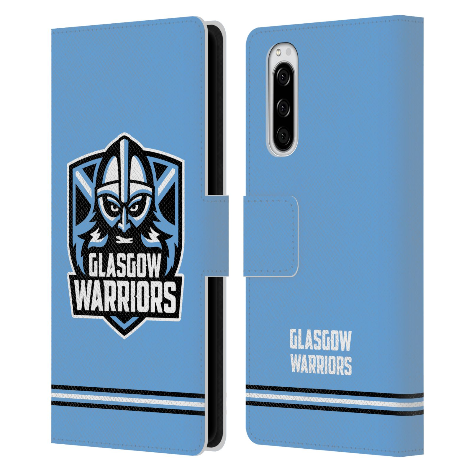 Official Glasgow Warriors 2019/20 Logo Art Stripes Blue Leather Book Wallet Case For Sony Xperia 5