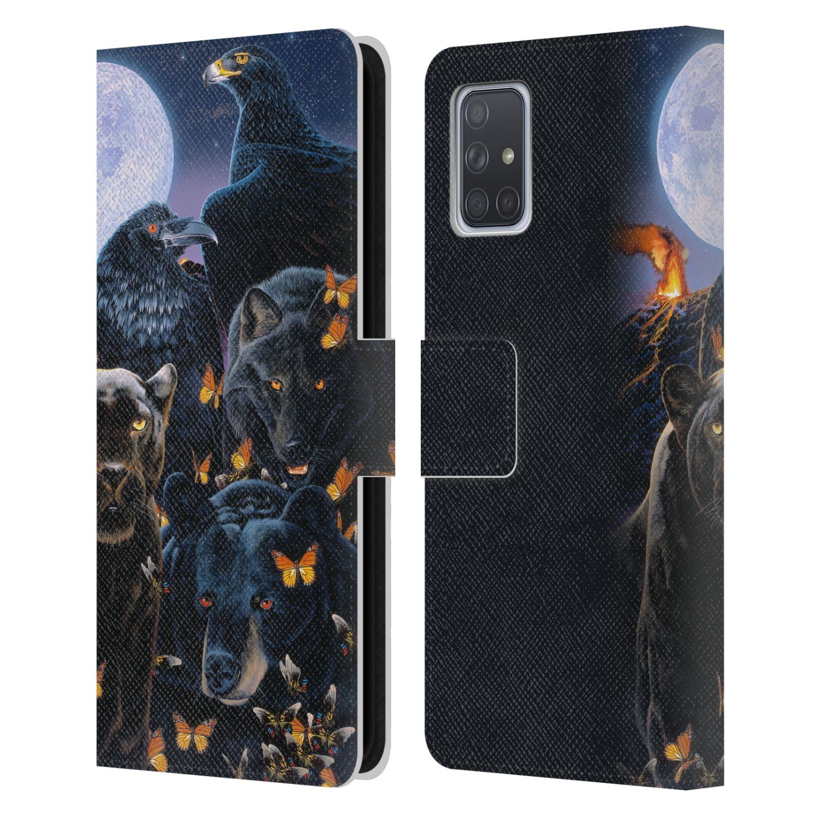 Official Graeme Stevenson Wildlife Black Animals 2 Leather Book Wallet Case For Samsung Galaxy A71 (2019)