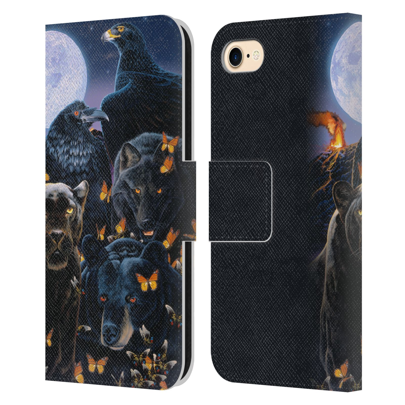 Official Graeme Stevenson Wildlife Black Animals 2 Leather Book Wallet Case For Apple iPhone 7 / 8 / iPhone SE 2020