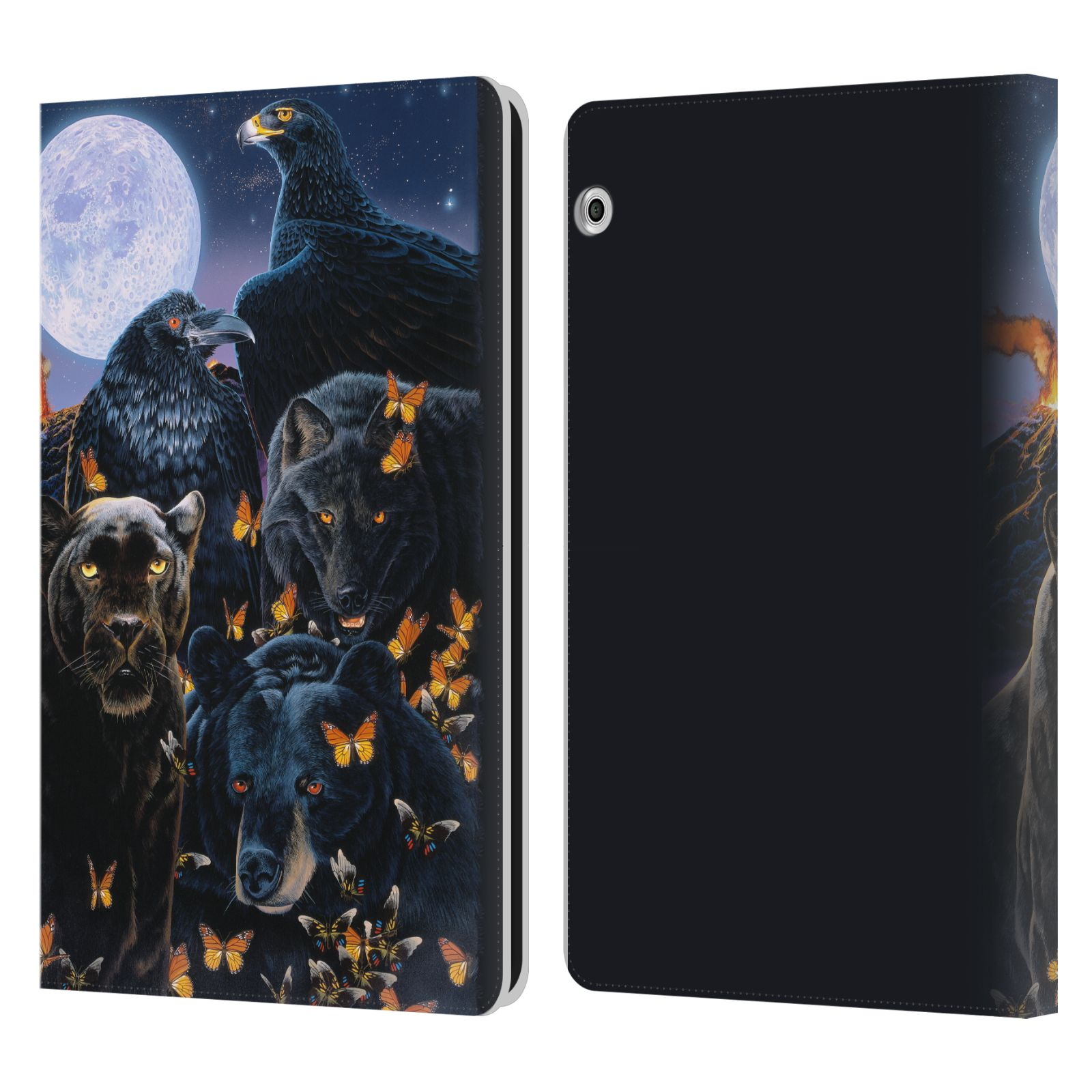 Official Graeme Stevenson Wildlife Black Animals 2 Leather Book Wallet Case For Huawei MediaPad T3 10