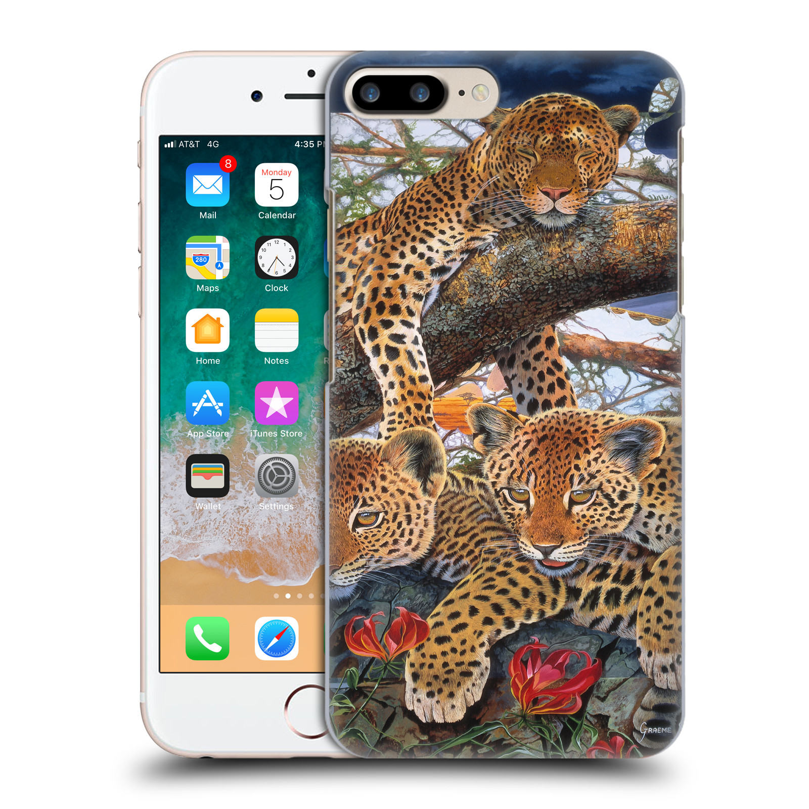 Official Graeme Stevenson Wildlife Leopard Case for Apple iPhone 7 Plus / iPhone 8 Plus
