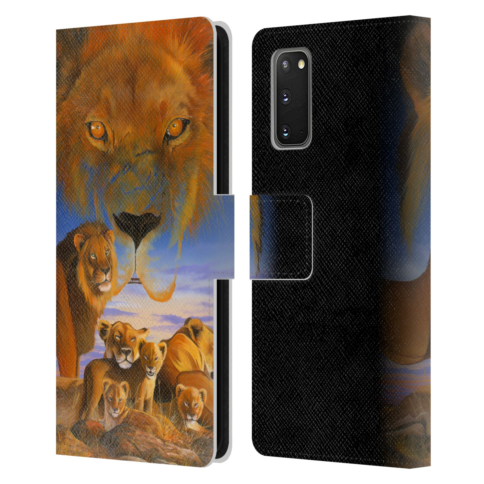 Official Graeme Stevenson Wildlife Lions Leather Book Wallet Case For Samsung Galaxy S20 / S20 5G