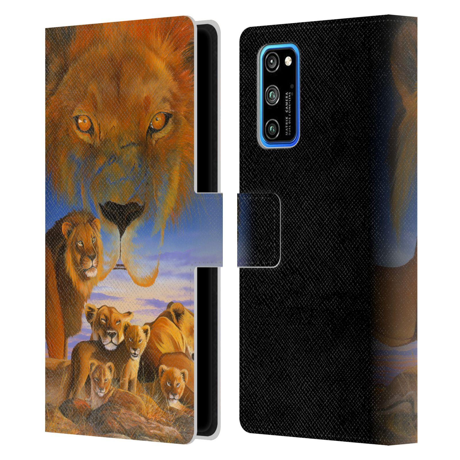Official Graeme Stevenson Wildlife Lions Leather Book Wallet Case For Huawei Honor V30 Pro / View 30 Pro