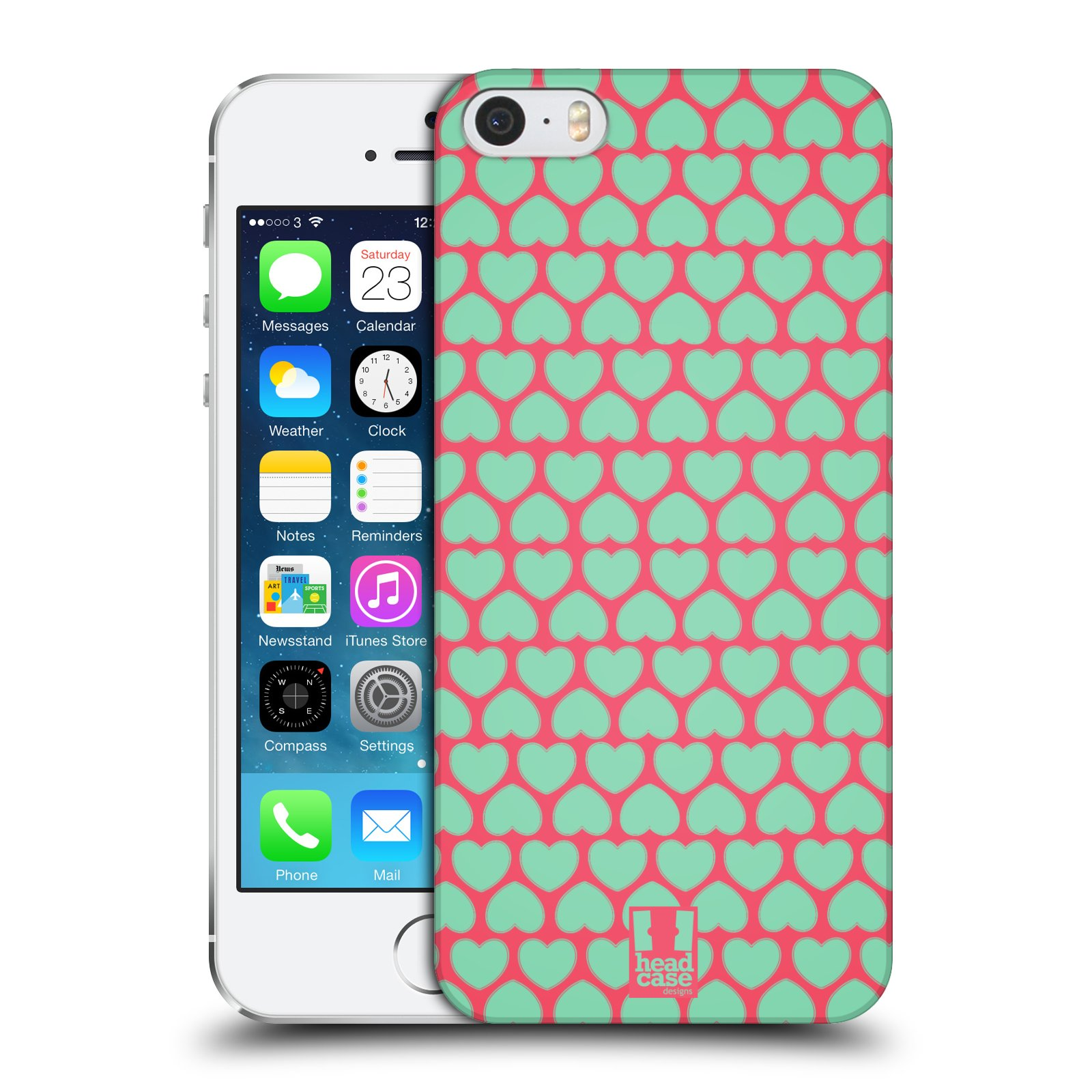Head Case Designs Heart Pattern Hard Back For Apple Iphone 5 5s Element Sector 7 Citron Se